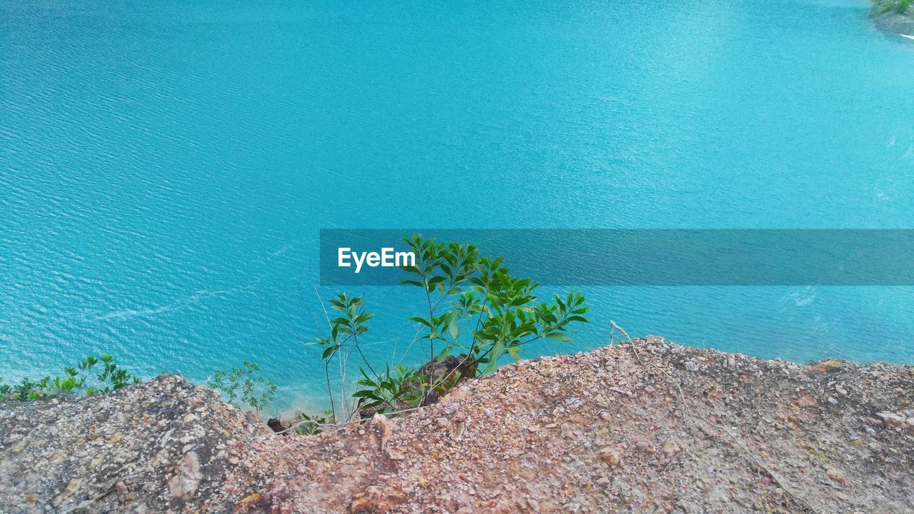 water, tranquility, high angle view, blue, beauty in nature, plant, no people, nature, day, sea, tranquil scene, scenics - nature, outdoors, rock, land, growth, solid, idyllic, rock - object, turquoise colored
