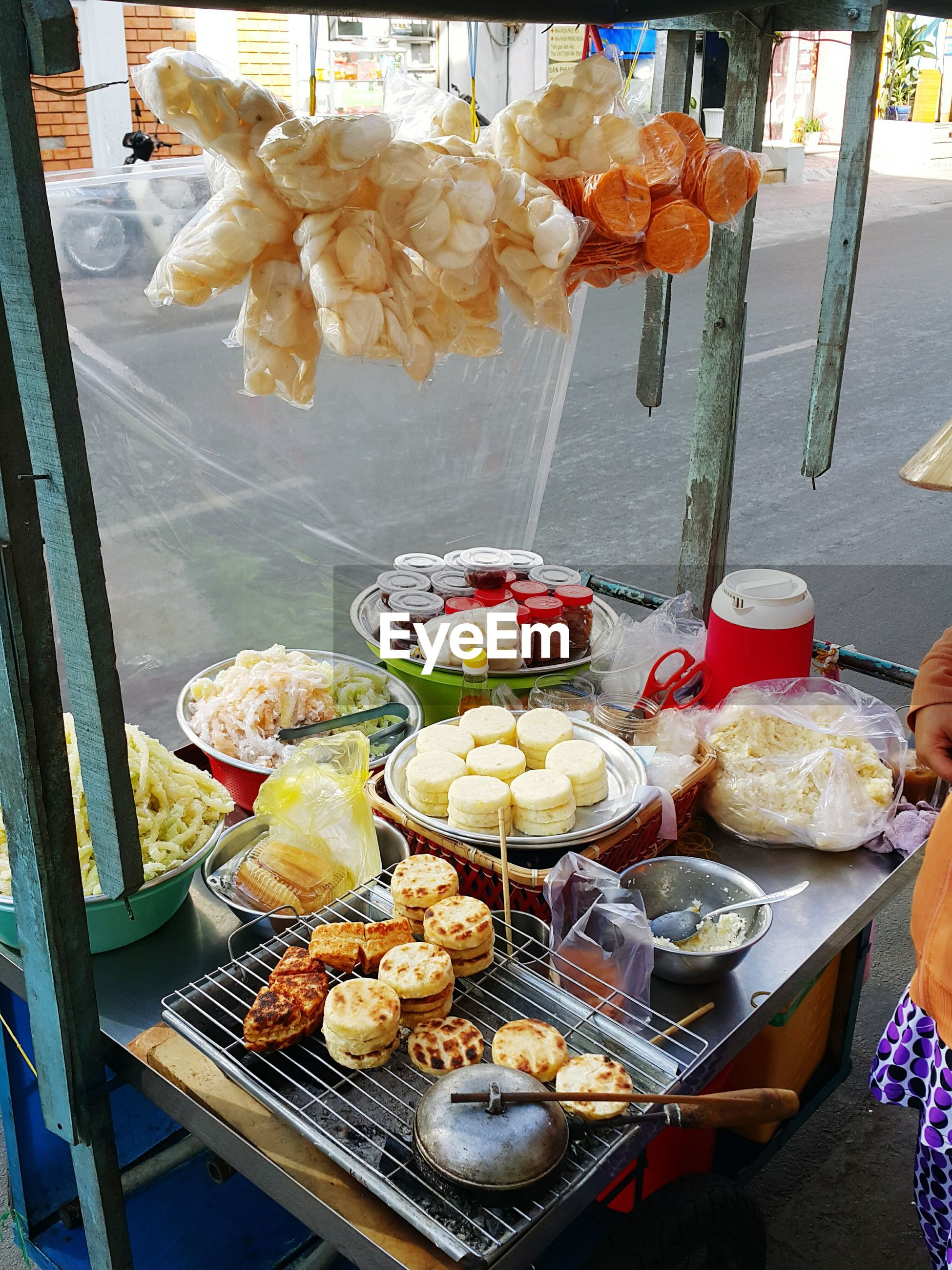 High angle view of street food