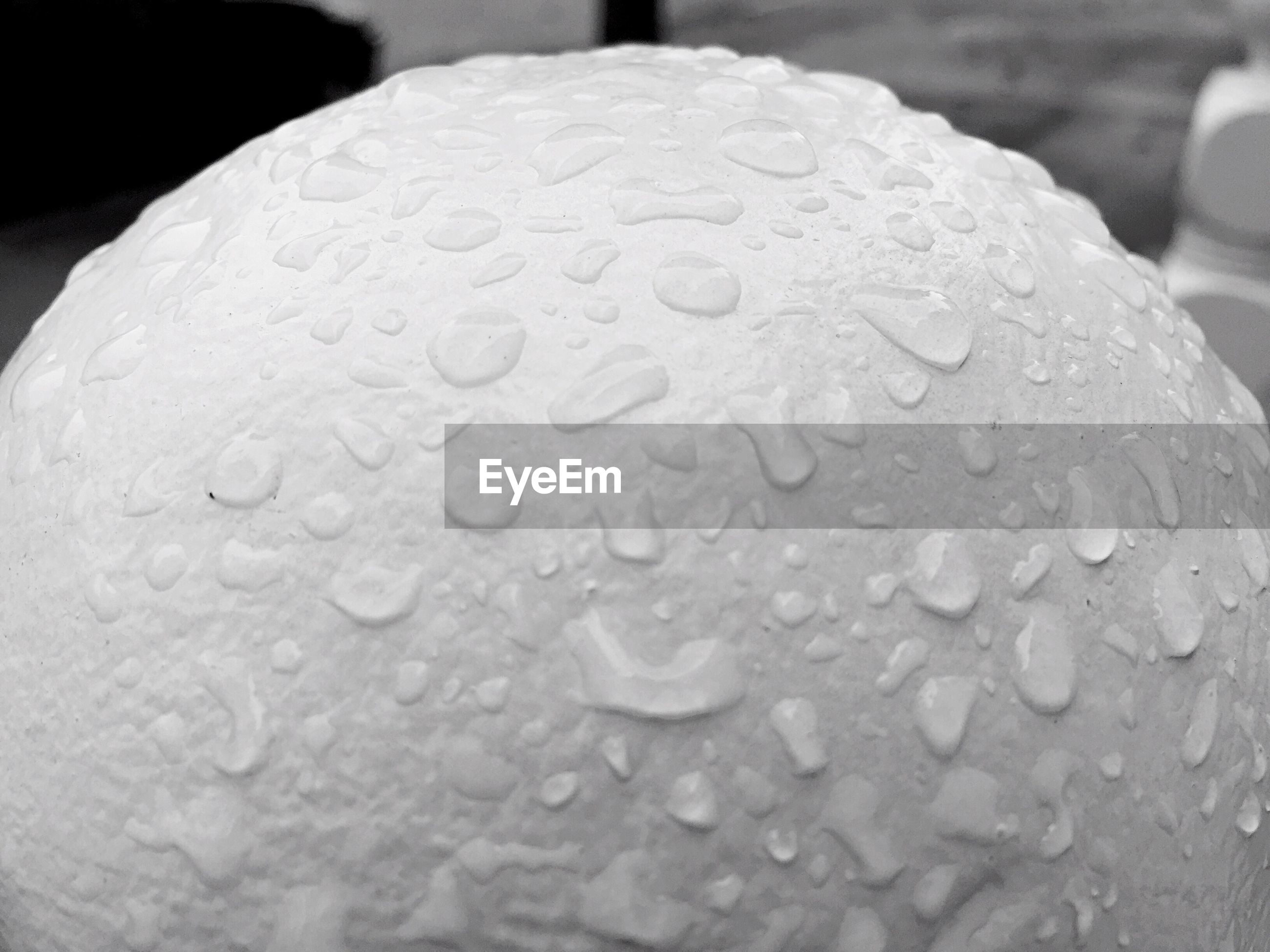 Close-up of raindrops on white sphere