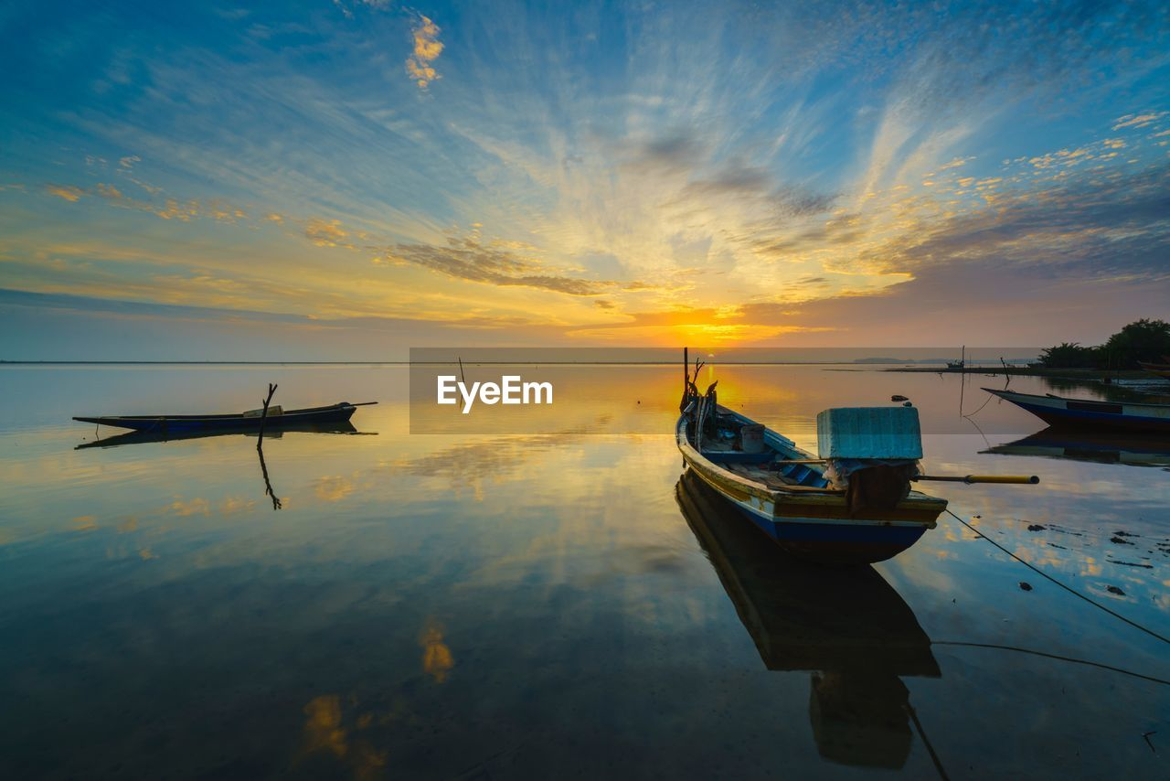 mode of transportation, transportation, sky, nautical vessel, sunset, cloud - sky, water, air vehicle, nature, orange color, airplane, travel, beauty in nature, no people, scenics - nature, sea, moored, tranquil scene, tranquility, outdoors