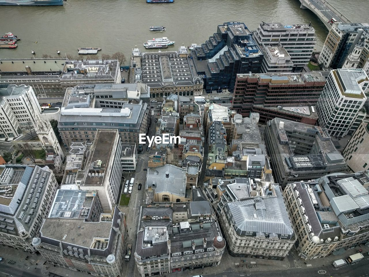 High Angle View Of Buildings And Thames River
