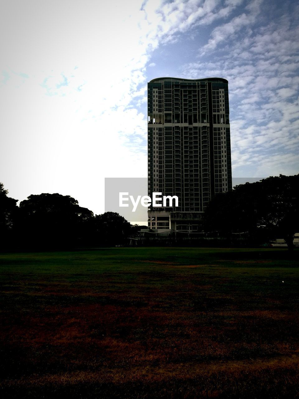 sky, plant, grass, building exterior, built structure, cloud - sky, architecture, tree, field, nature, no people, land, day, landscape, outdoors, building, sport, tall - high, growth, park, office building exterior, skyscraper