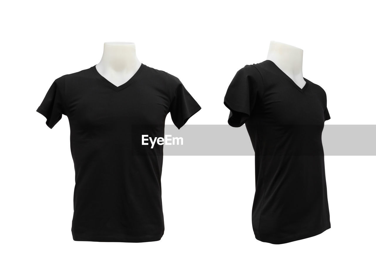 clothing, fashion, human representation, mannequin, cut out, studio shot, indoors, white background, no people, black color, industry, textile, t-shirt, store, casual clothing, retail, haute couture, copy space, textile industry, retail display, menswear, sleeve, marketing, garment