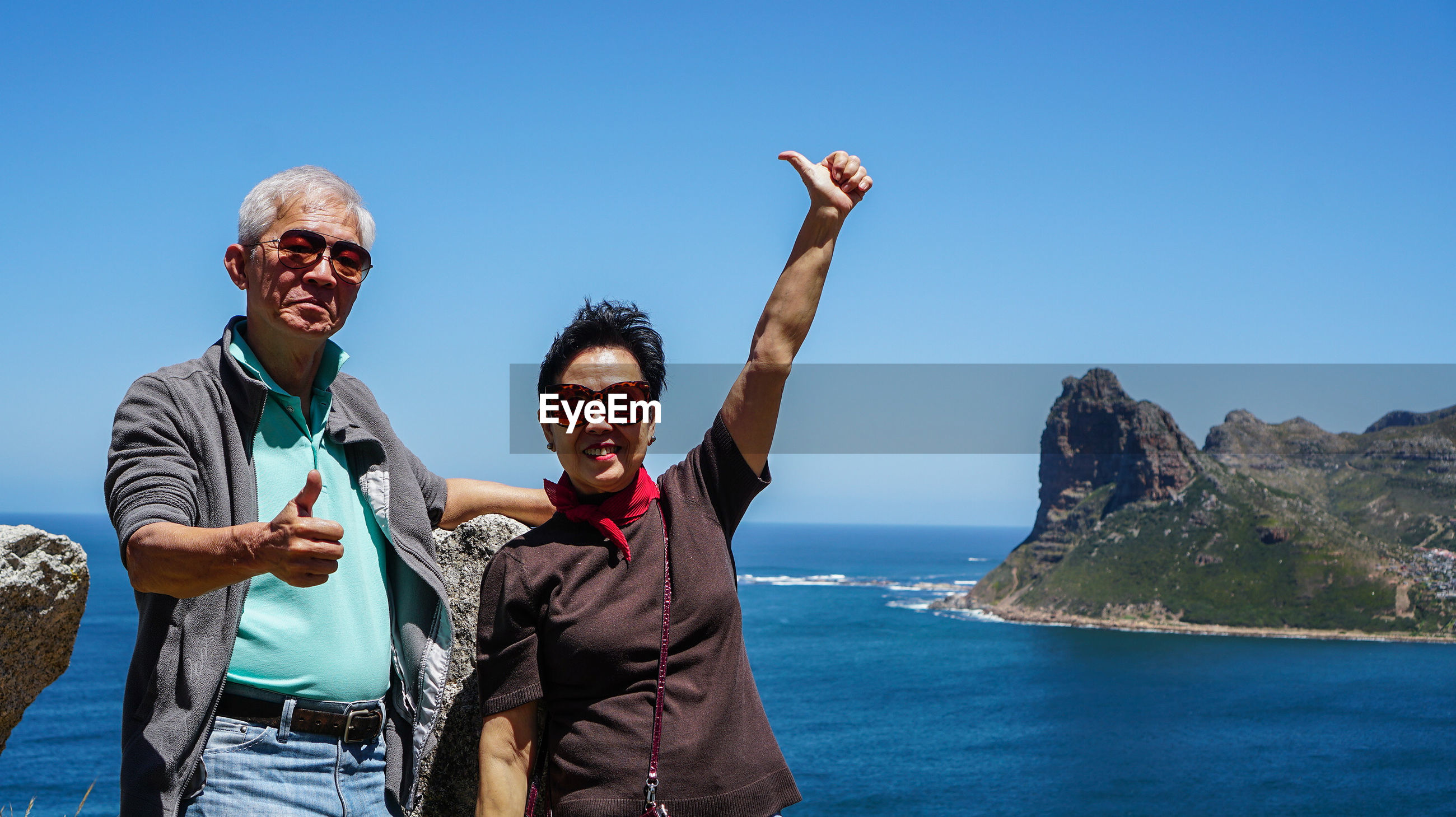 Asian senior couple exotic advanture to south africa retirement trip