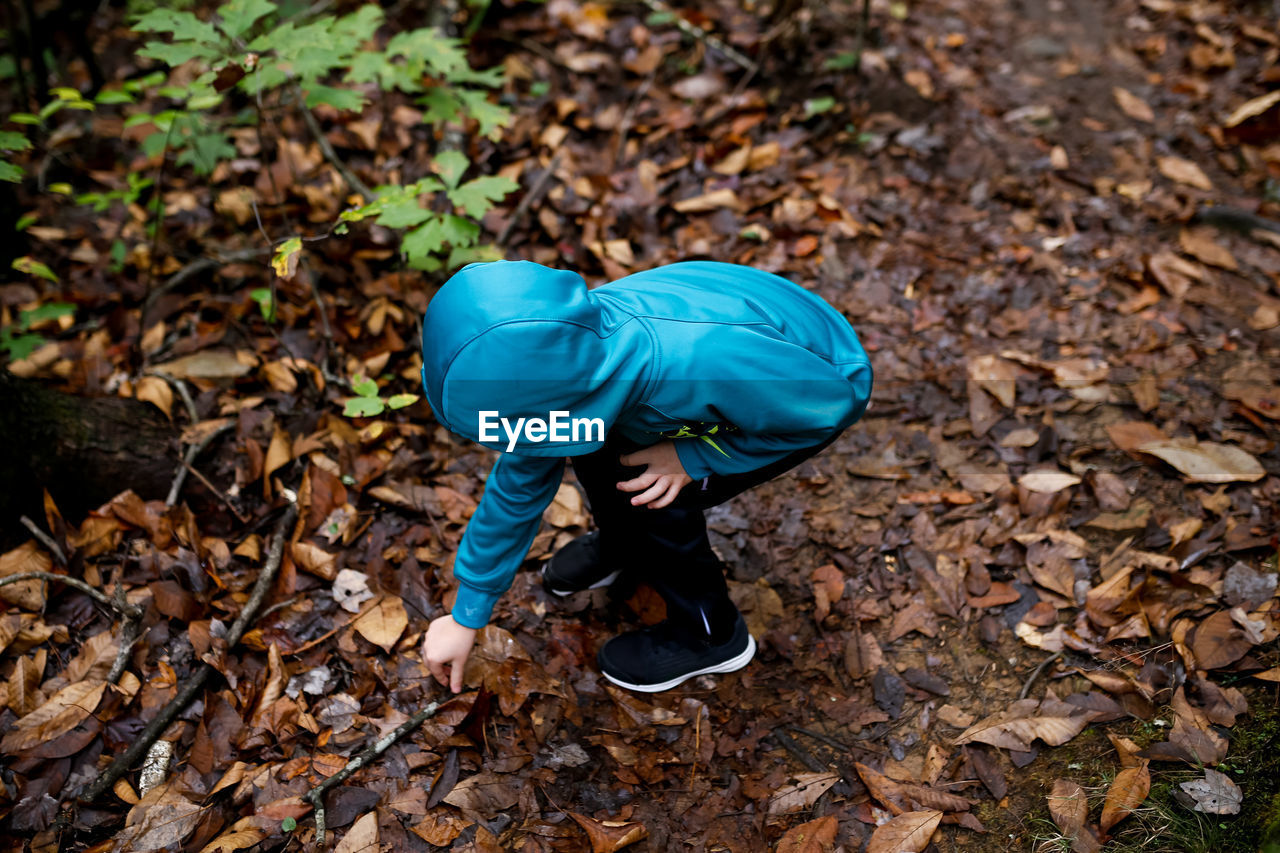High angle view of boy wearing blue jacket playing in forest during autumn