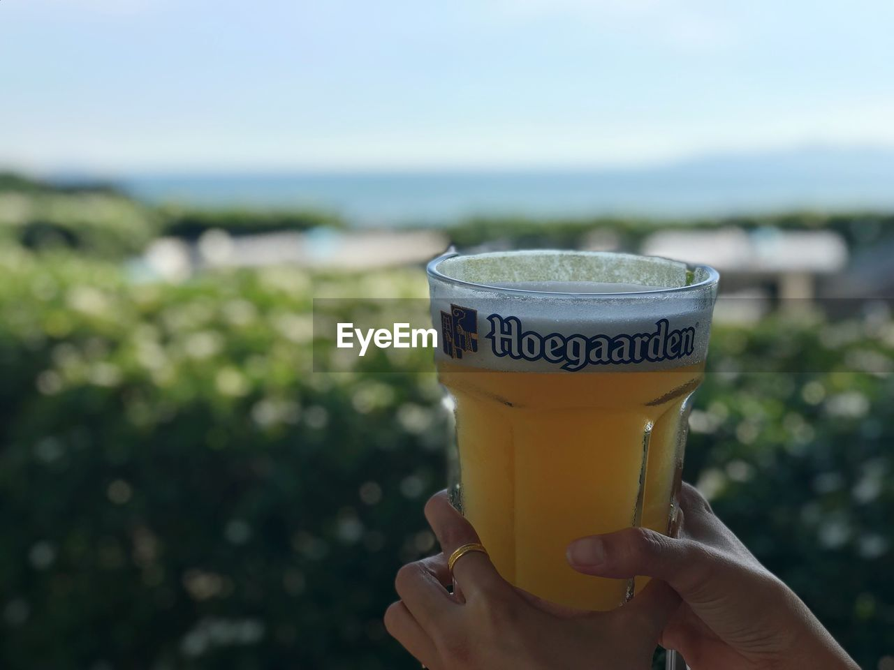 human hand, holding, hand, one person, focus on foreground, food and drink, human body part, drink, real people, unrecognizable person, day, refreshment, close-up, nature, sky, lifestyles, text, freshness, finger, outdoors, glass