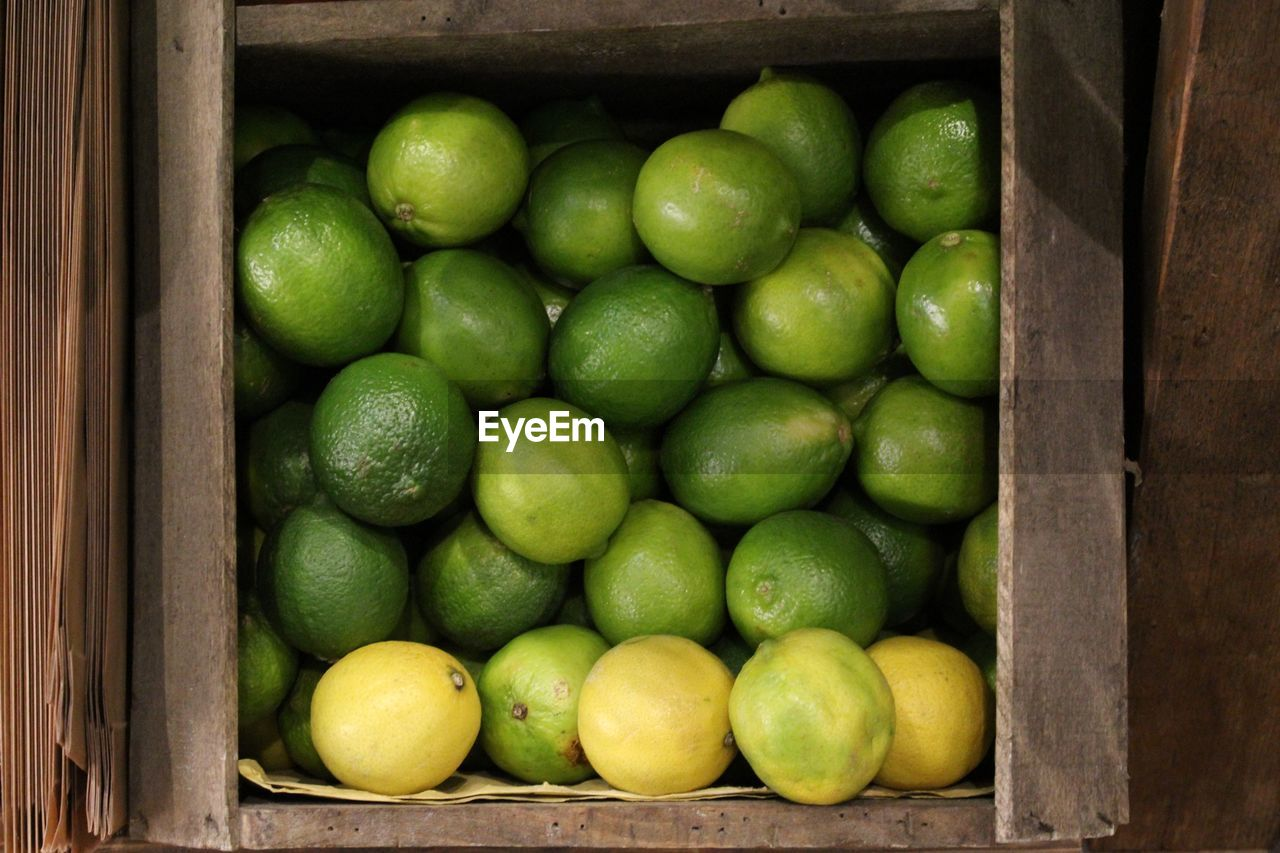 Directly above shot of lemons in container