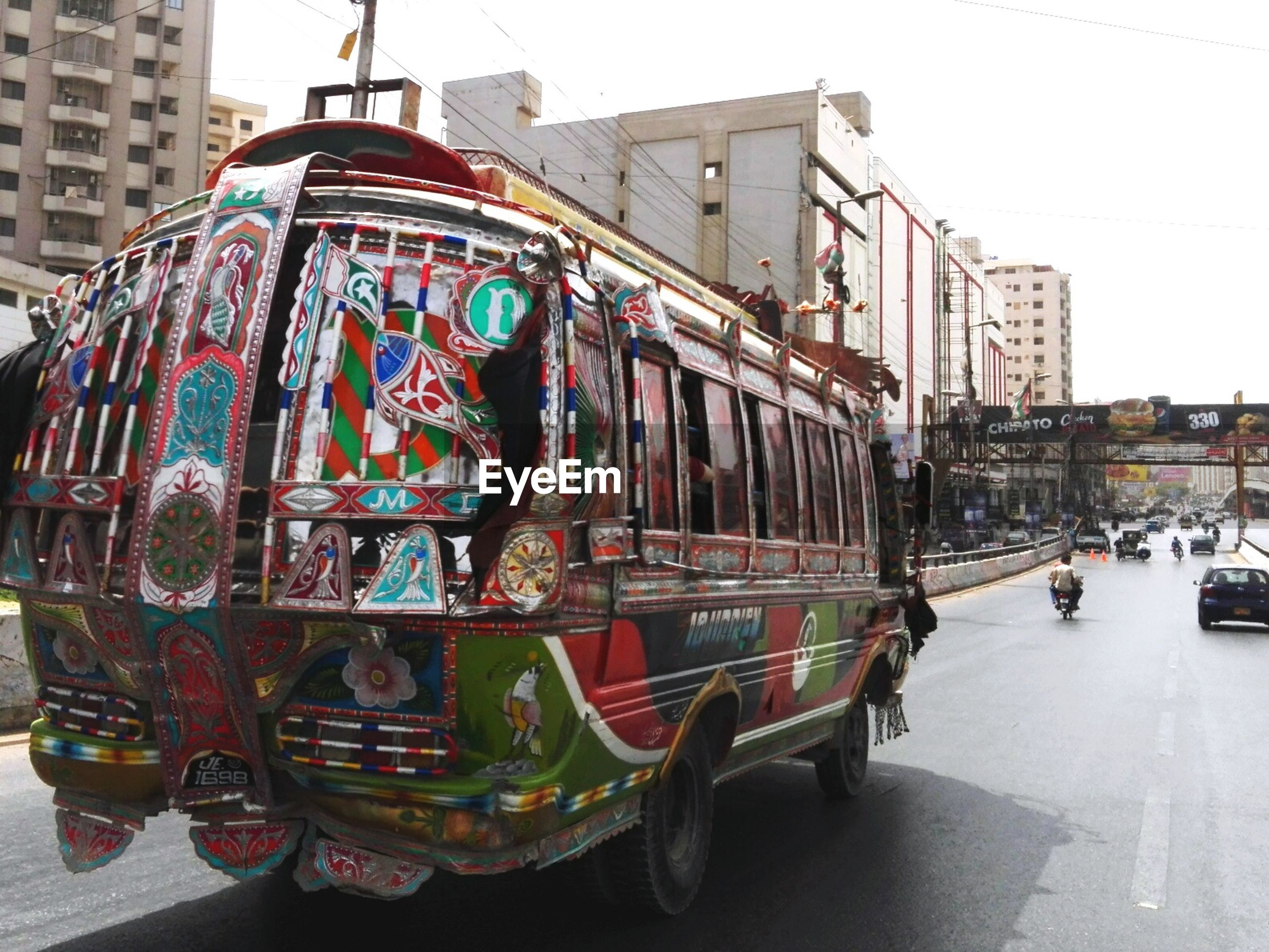 Colorful bus on street