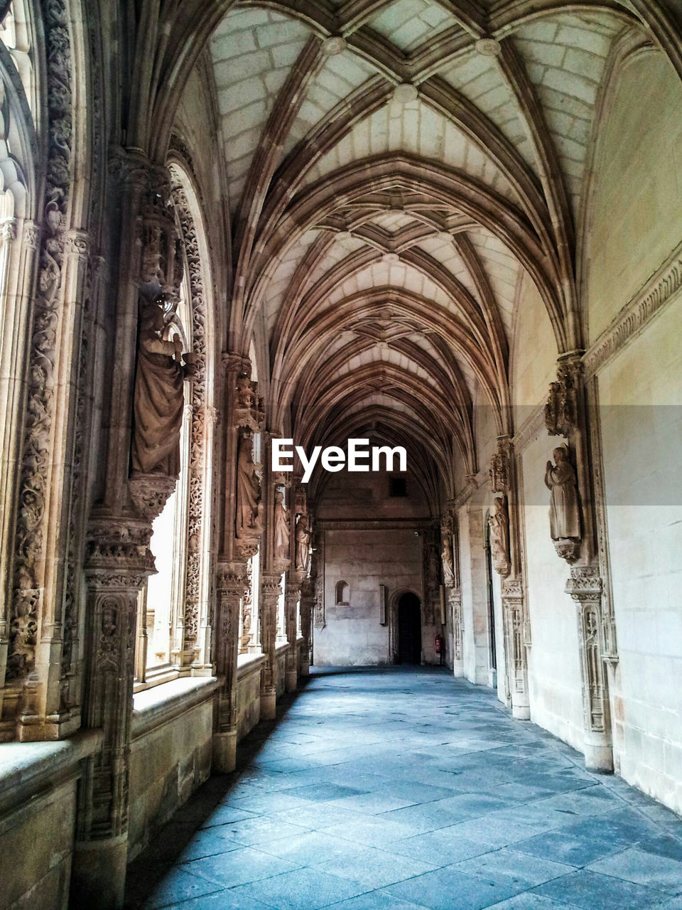 Empty Corridor Of Historic Cathedral