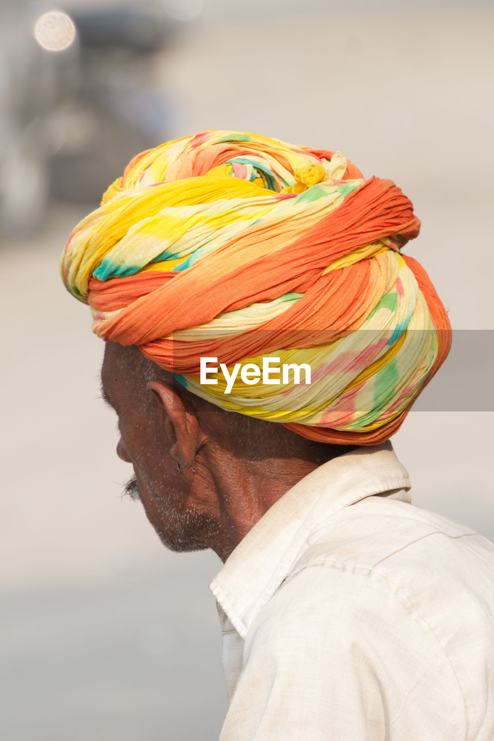 Close-up of senior man wearing turban
