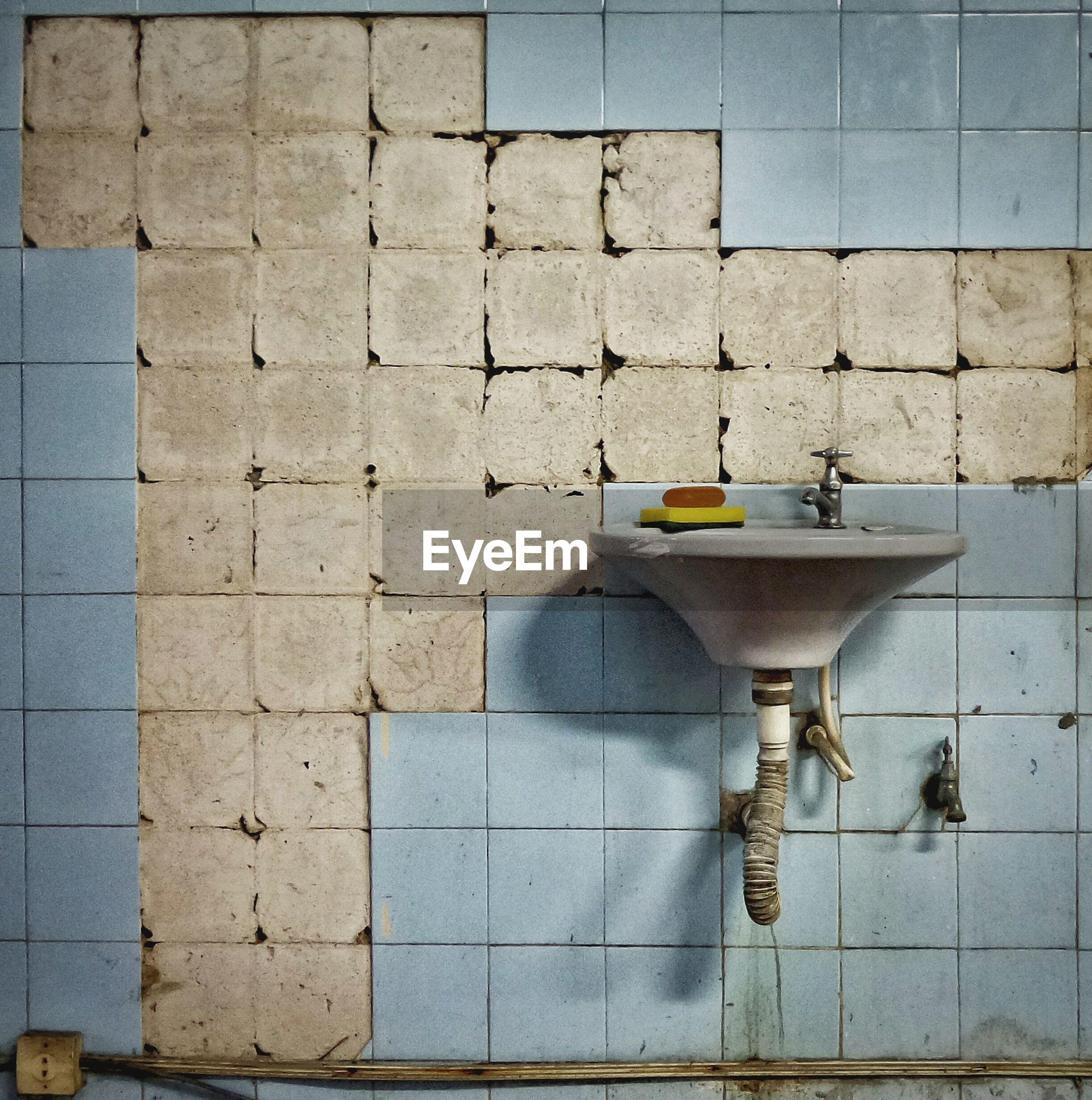 Interior of abandoned bathroom