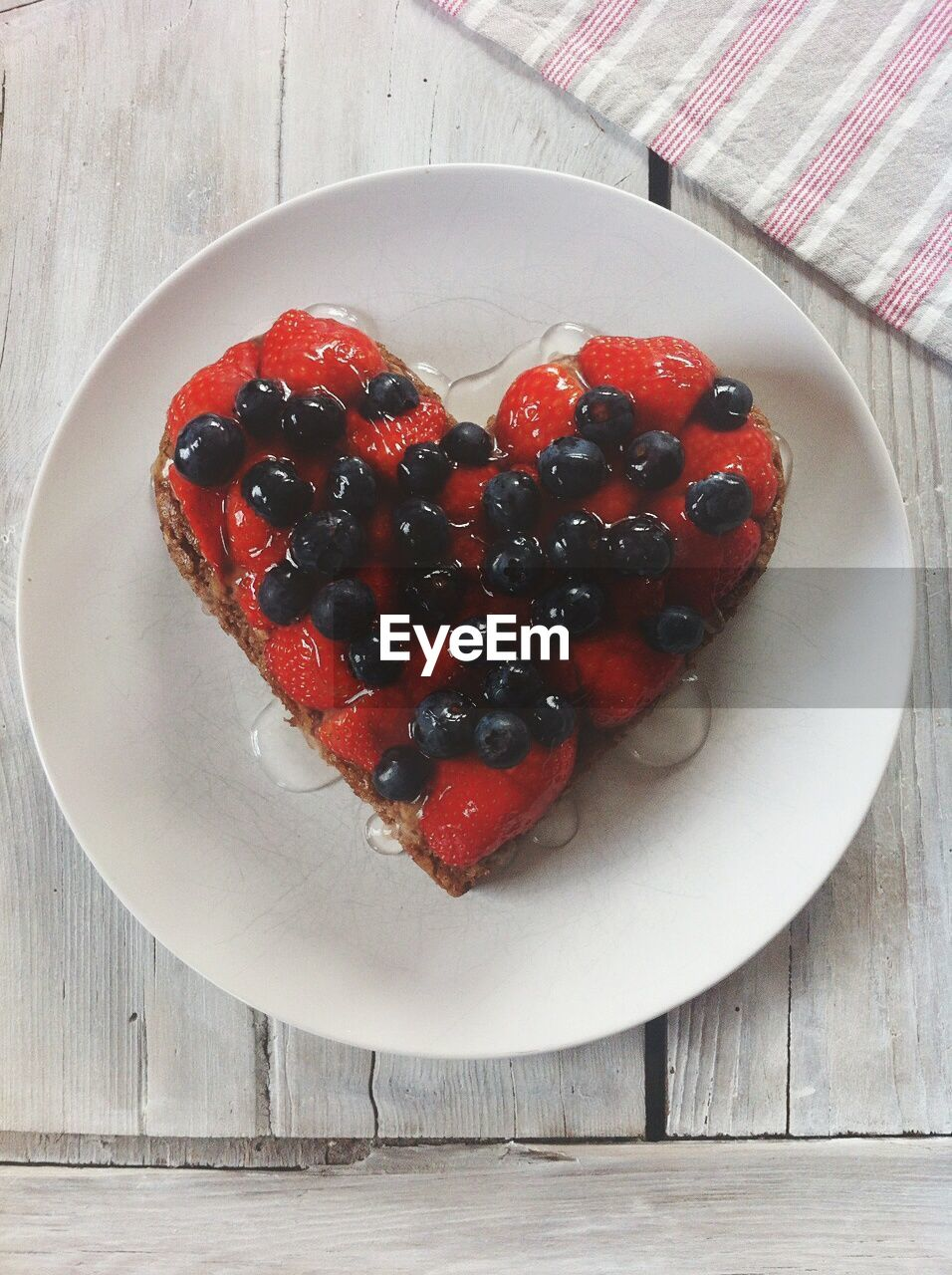 Close-Up Overhead View Of Heart Shaped Cake