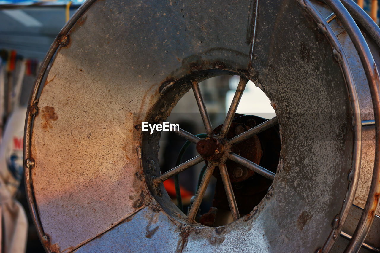 Close-Up Of Rusty Metallic Wheel