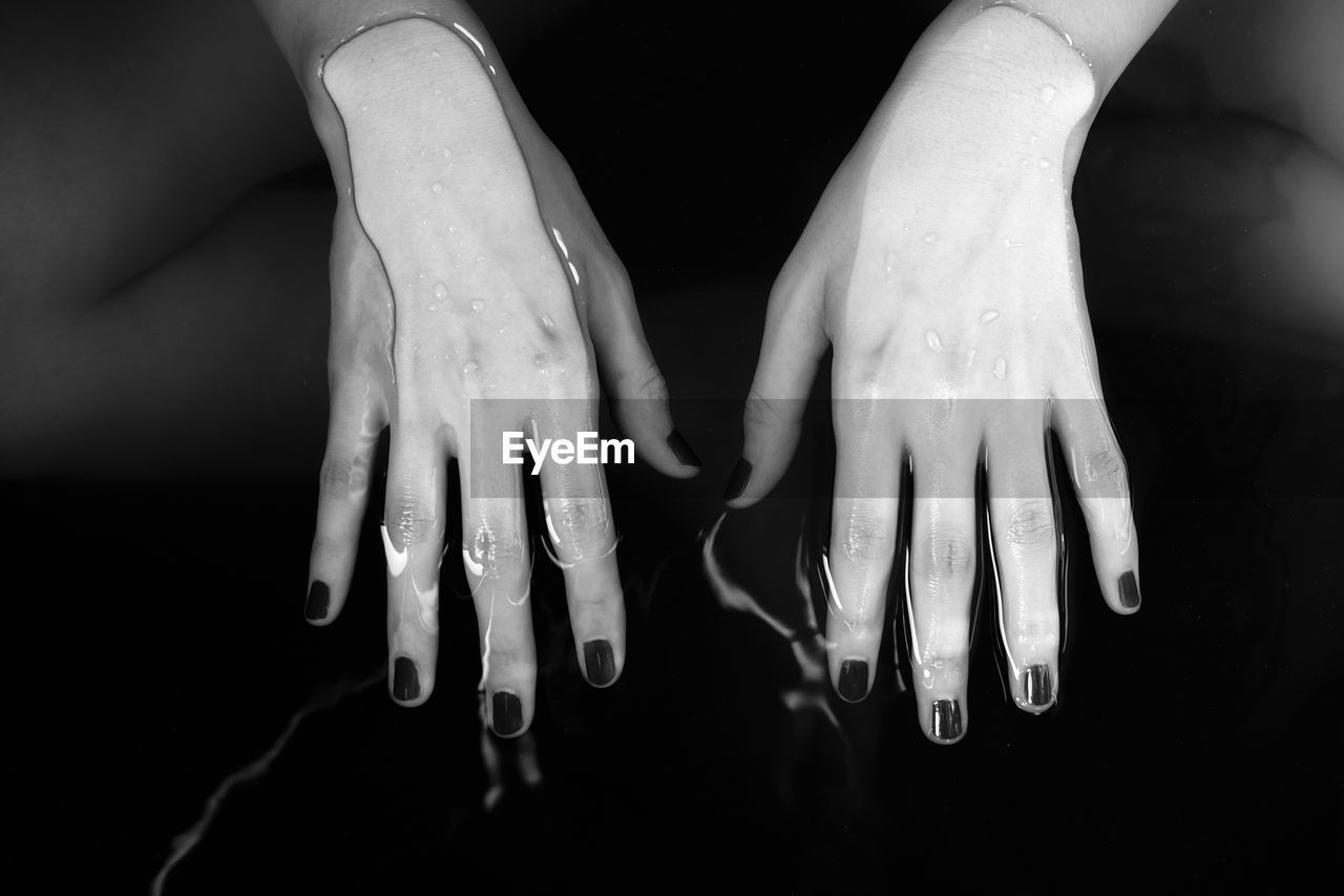 Close-Up Of Human Hand In Water