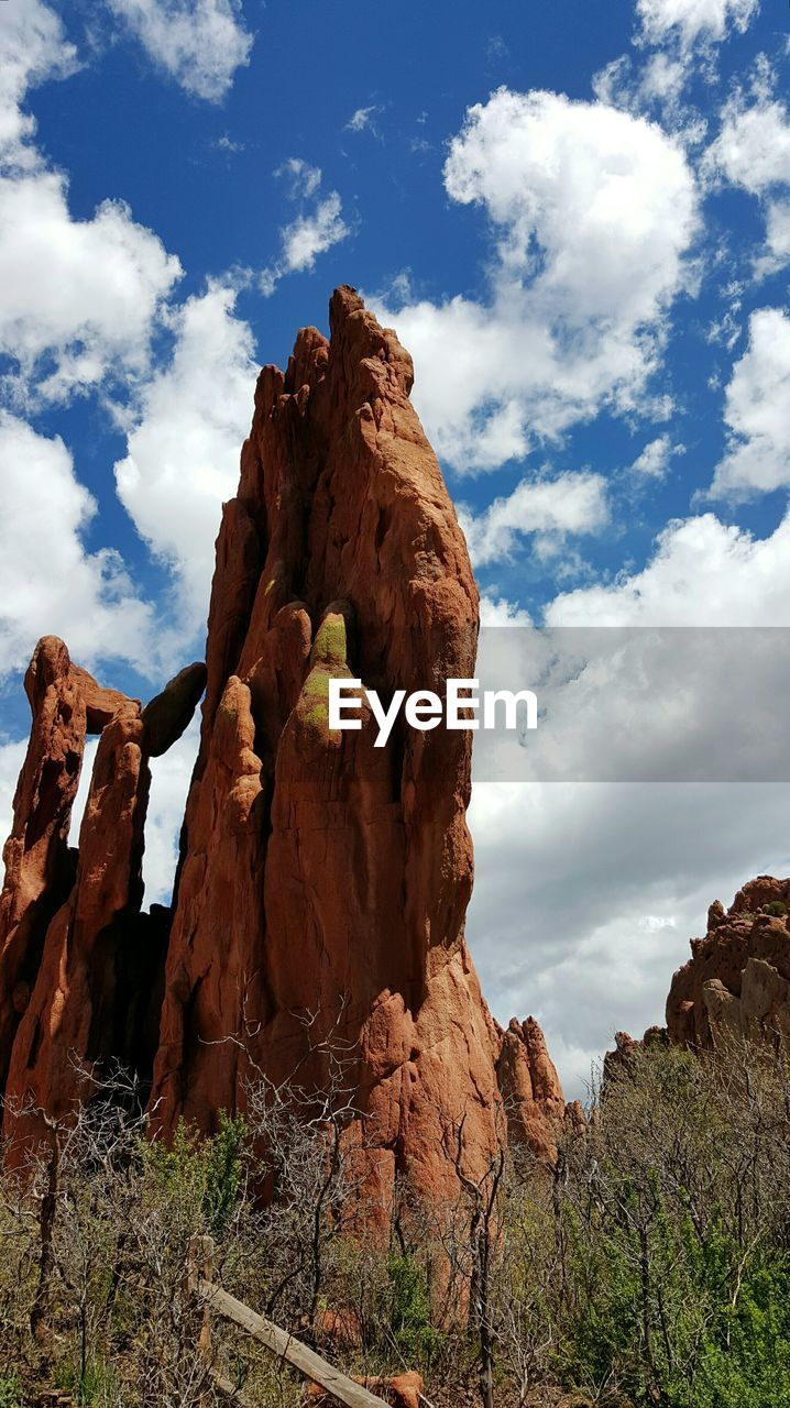 Rock Formation Against Cloudy Sky At Garden Of The Gods