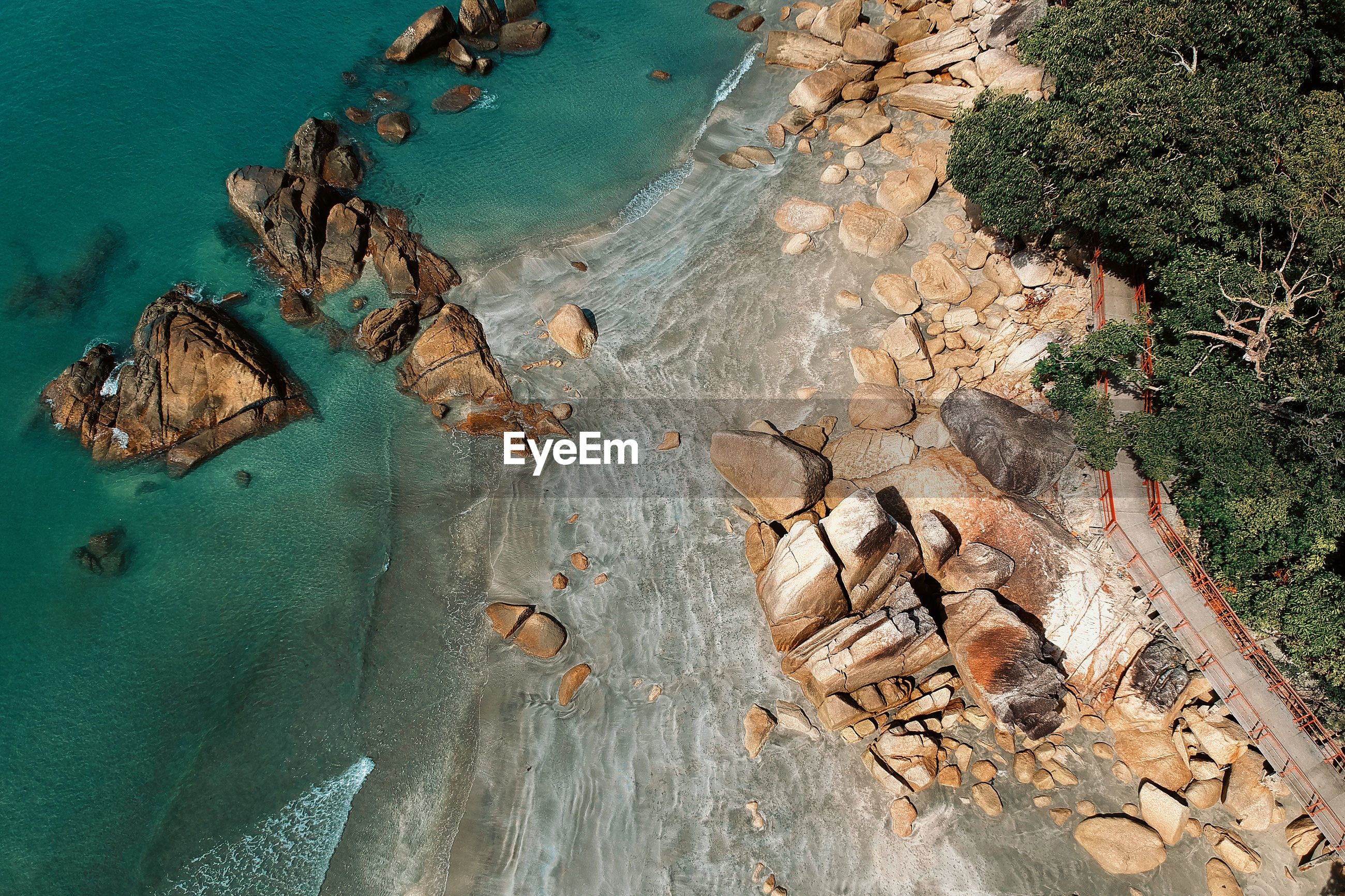Aerial view of rocks at beach