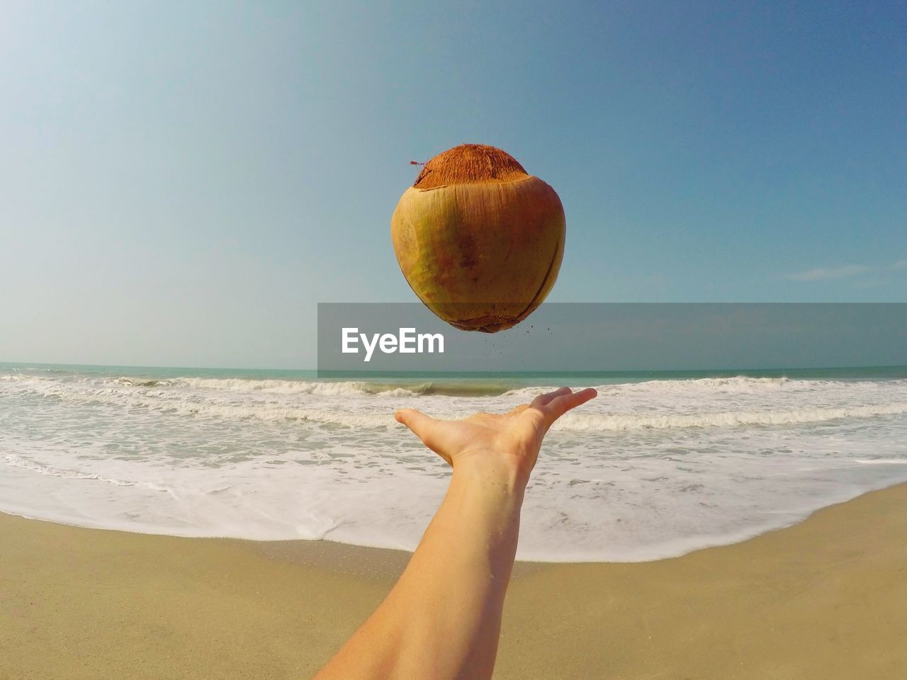 Hand Throwing Coconut On Beach Against Blue Sky