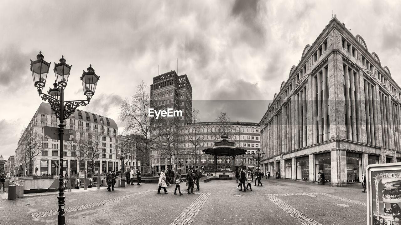 DUESSELDORF, GERMANY - JANUARY 05, 2017: High resolution, hyperrealistic panoarama of famous Heinrich Heine Platz with Carsch Haus Black & White Film Grain Emulation