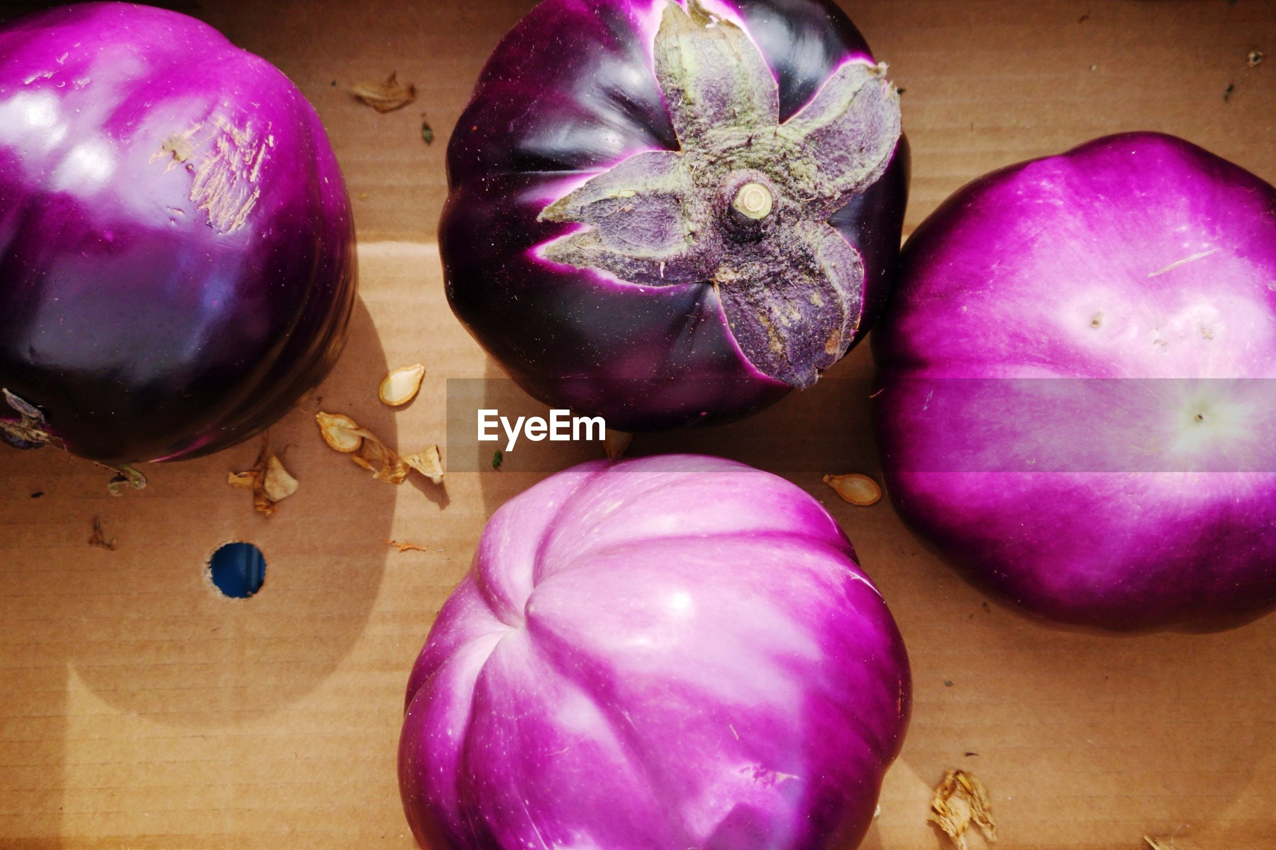 High angle view of purple vegetable on table