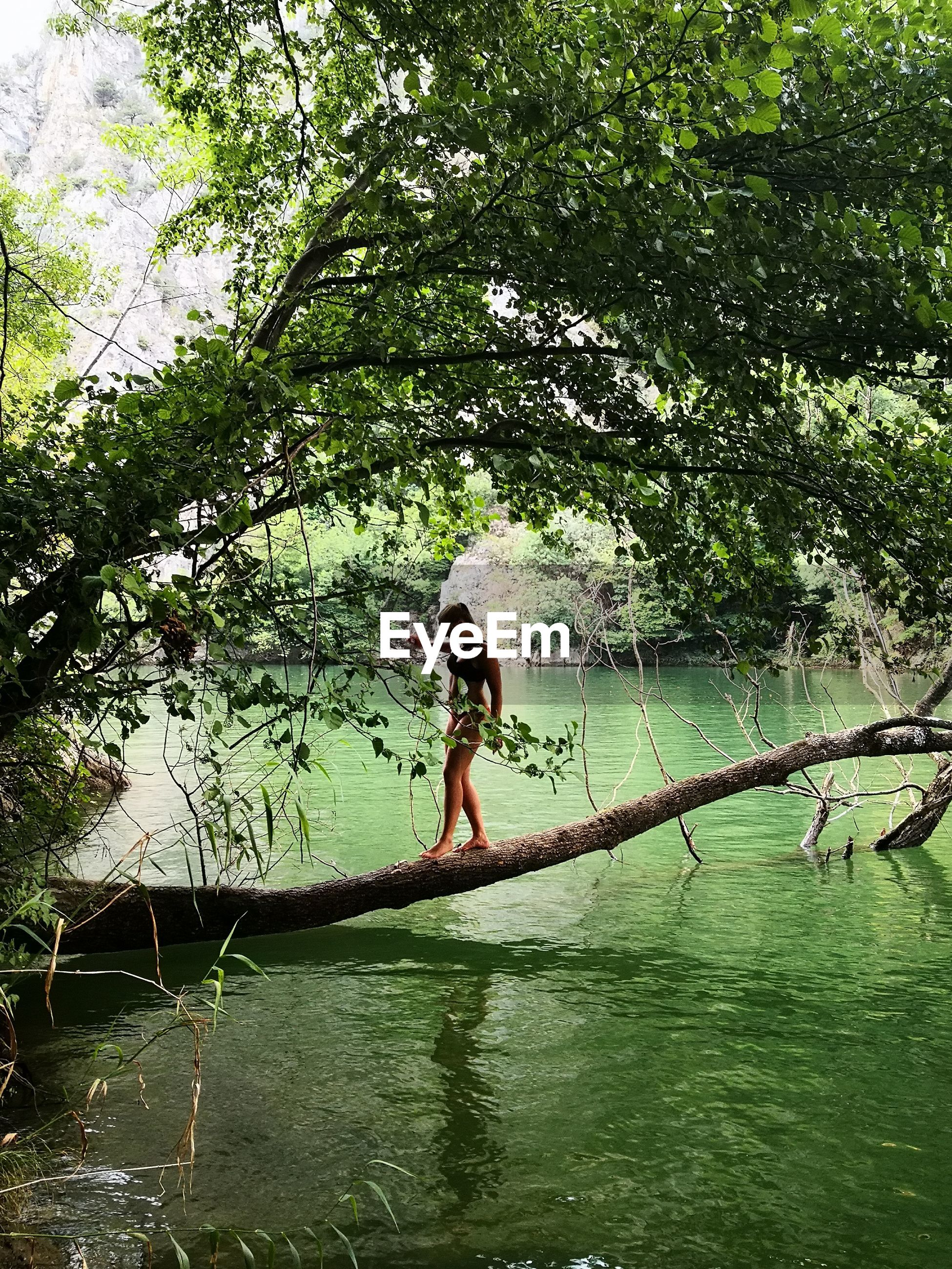 Full length of woman walking on tree trunk over lake
