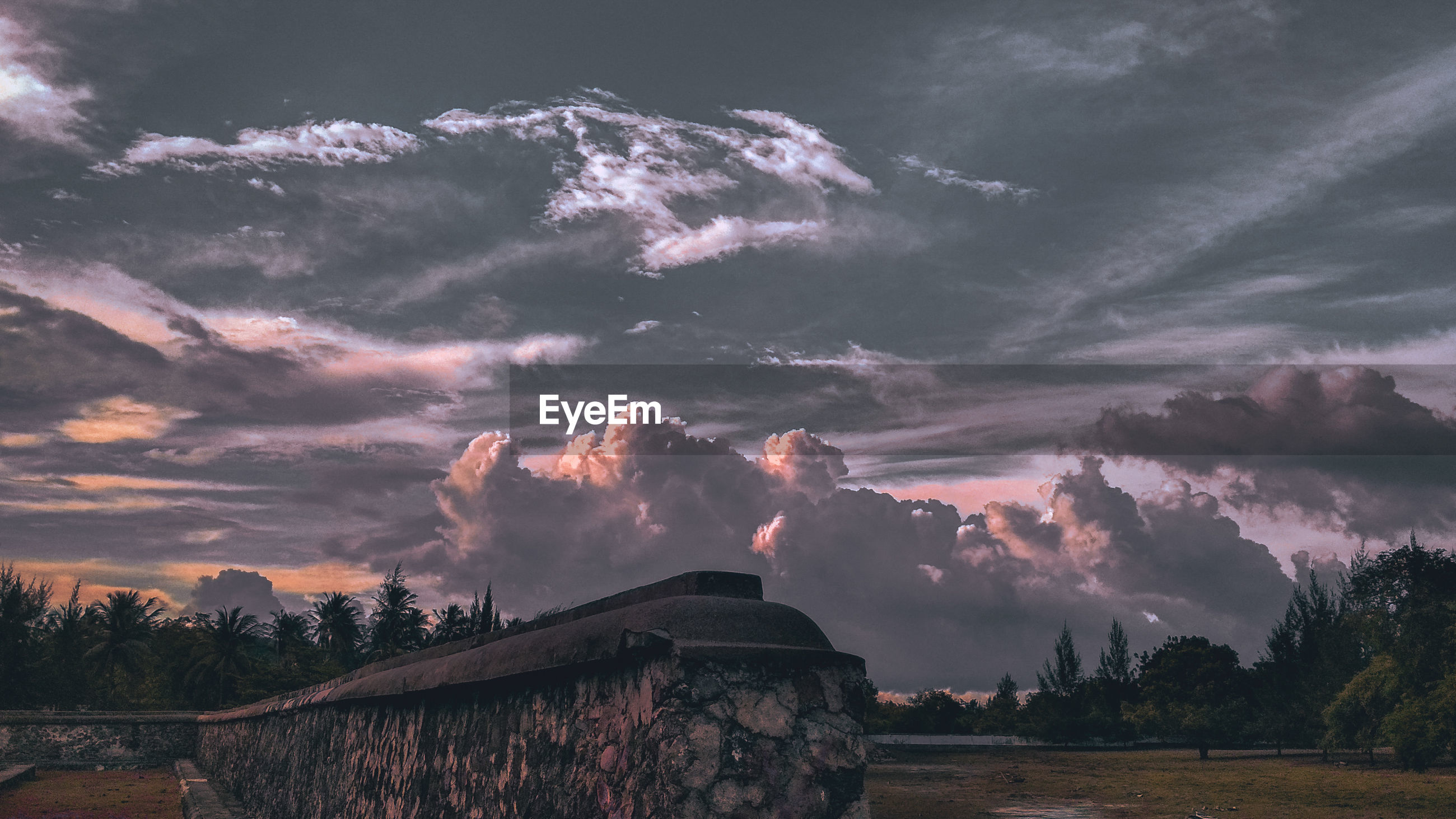 Panoramic shot of storm clouds over landscape