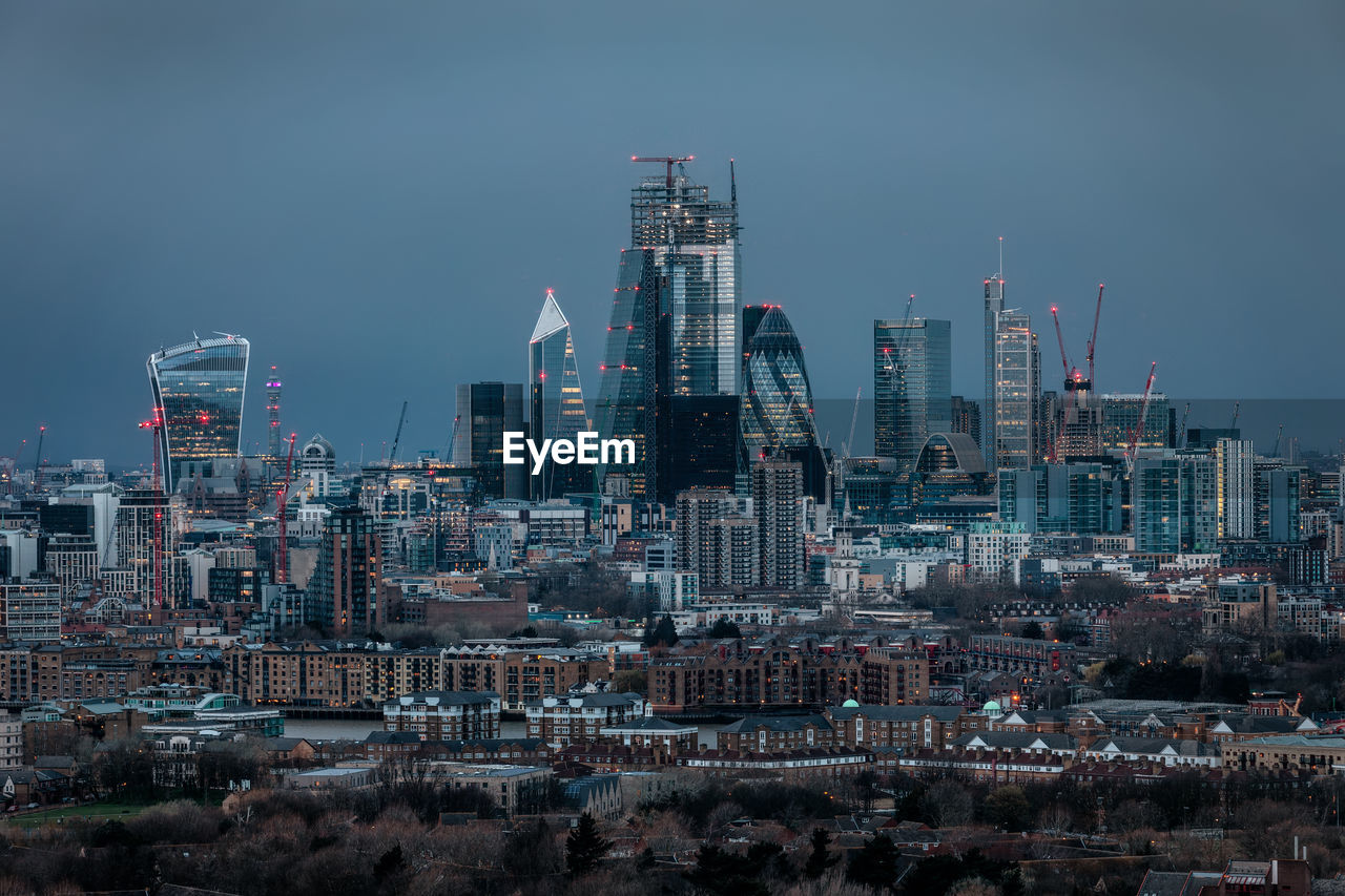 Panorama of london modern buildings