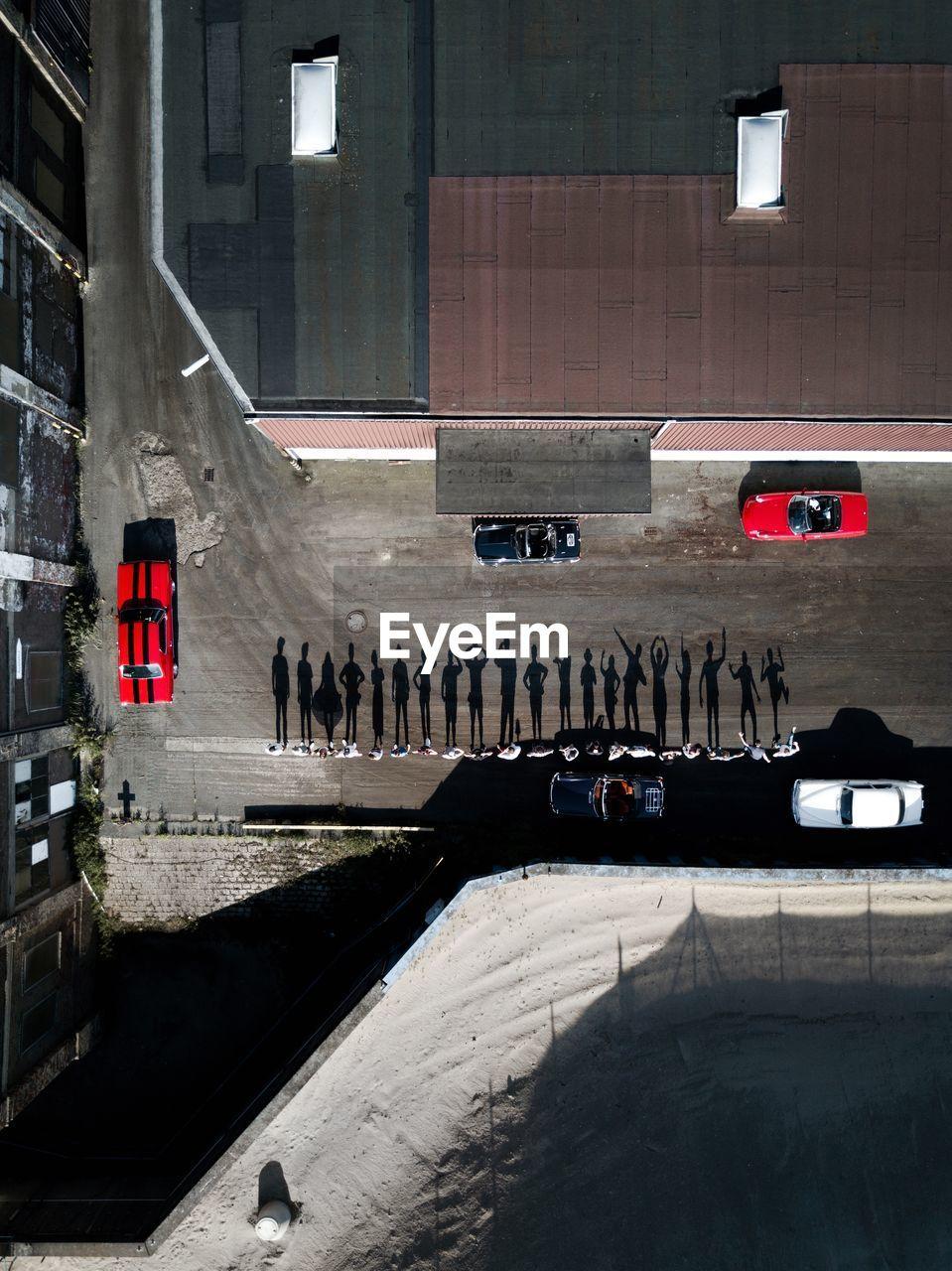 High angle view of shadows on street