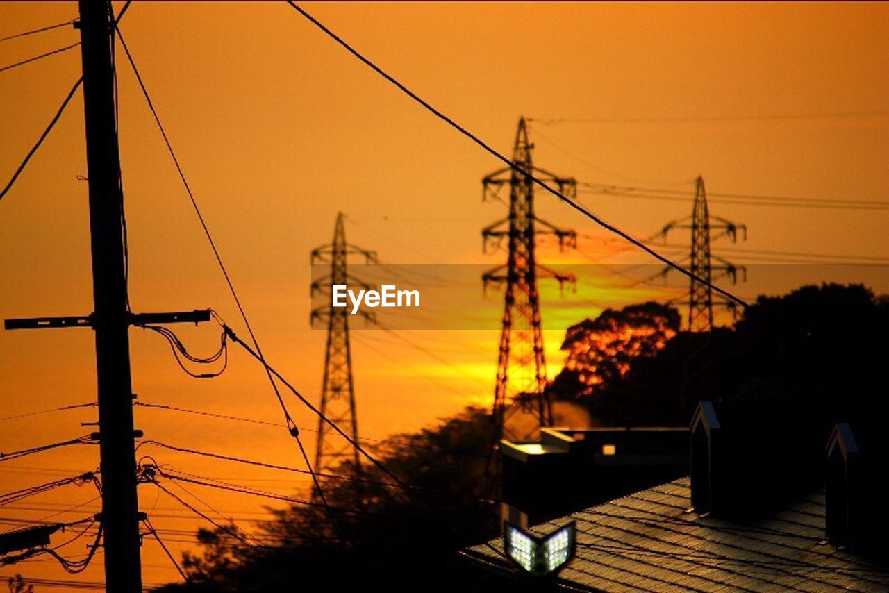 sunset, cable, sky, electricity pylon, power line, electricity, connection, silhouette, orange color, technology, nature, power supply, plant, tree, fuel and power generation, no people, outdoors, architecture, beauty in nature, built structure, telephone line