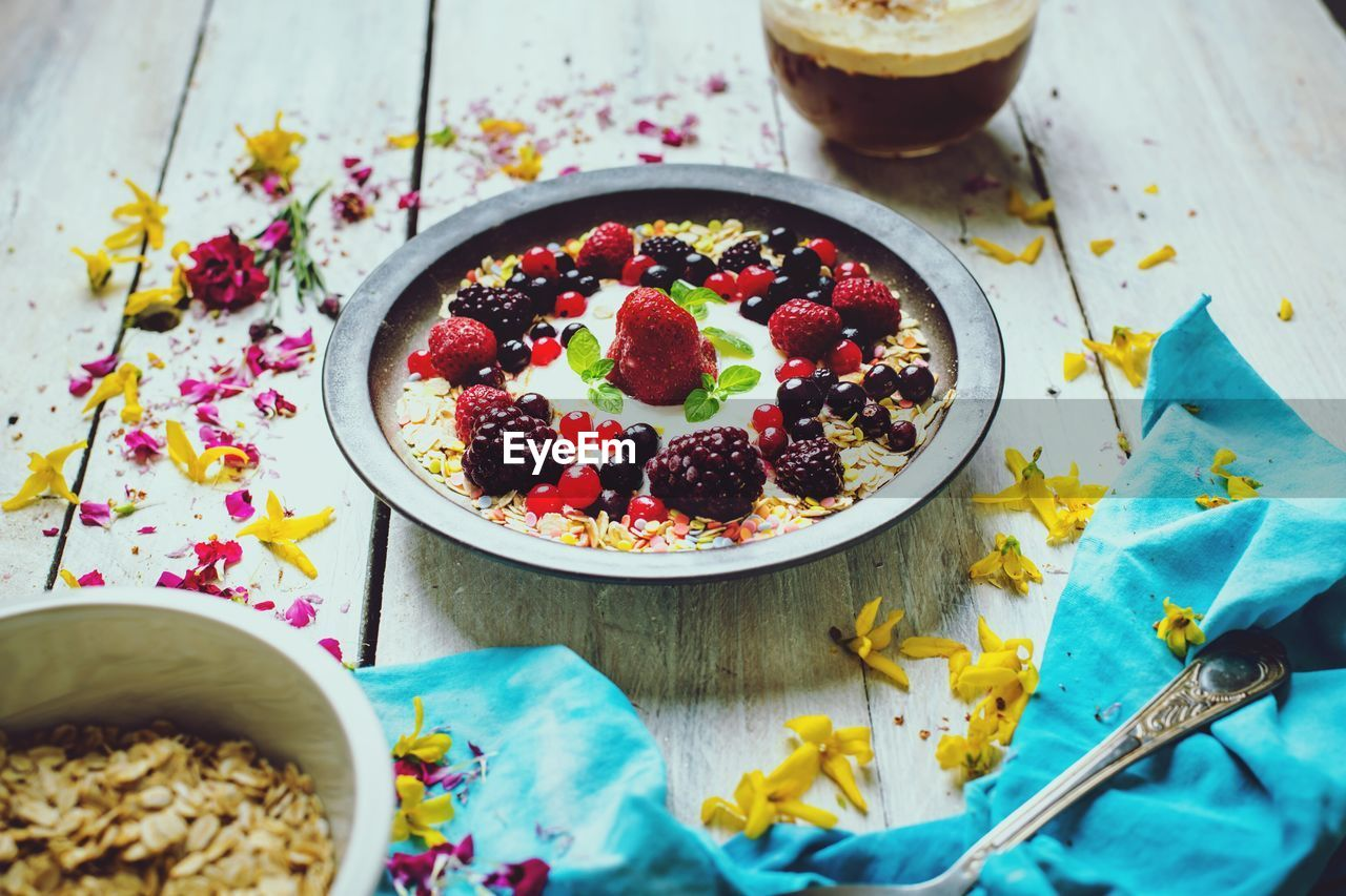 food, food and drink, healthy eating, freshness, table, wellbeing, bowl, fruit, kitchen utensil, eating utensil, still life, berry fruit, ready-to-eat, spoon, high angle view, breakfast, indoors, no people, indulgence, close-up, meal, temptation, yogurt, garnish