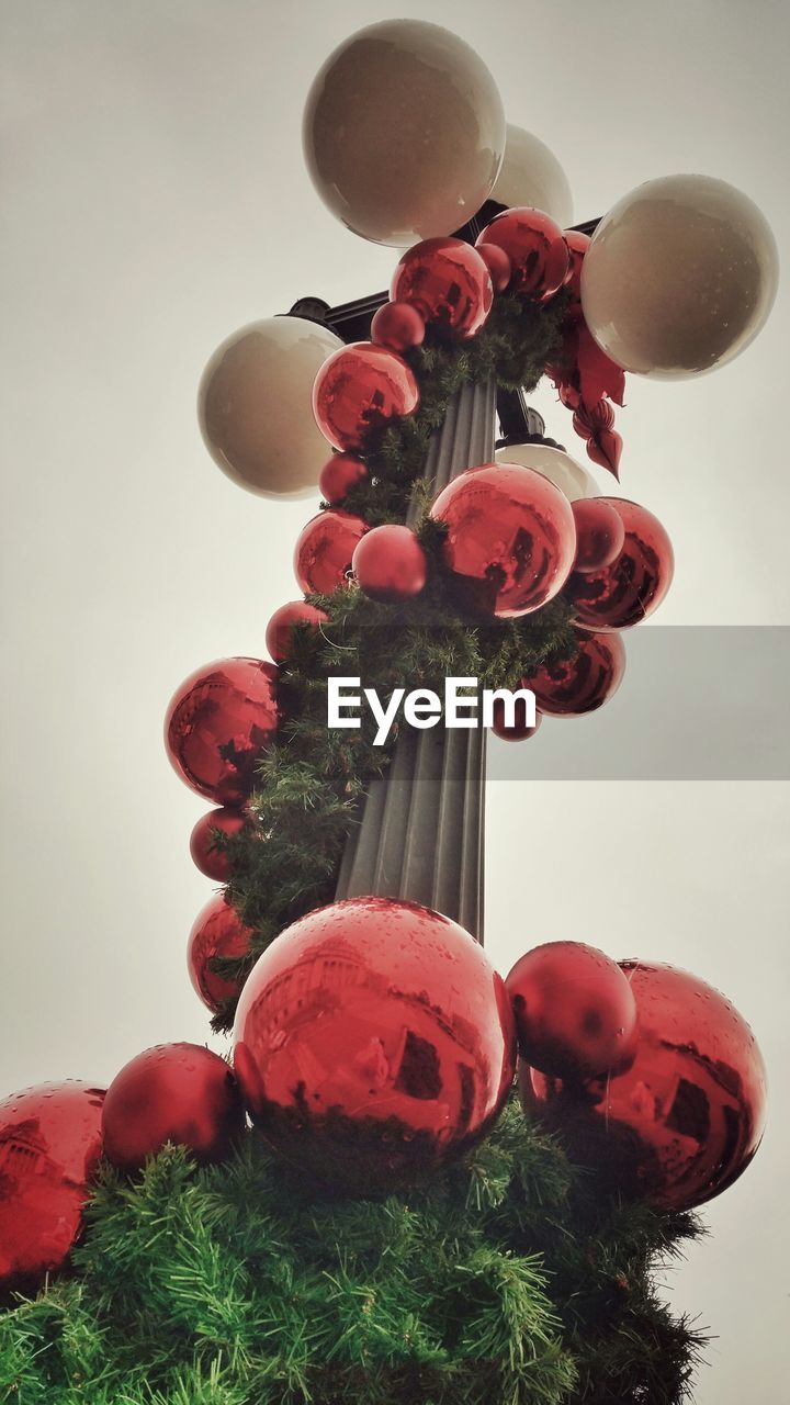 low angle view, no people, celebration, tradition, sky, red, christmas decoration, close-up, indoors, tree, day