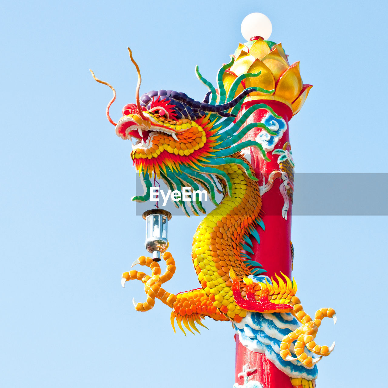 Low Angle View Of Chinese Dragon Against Clear Sky