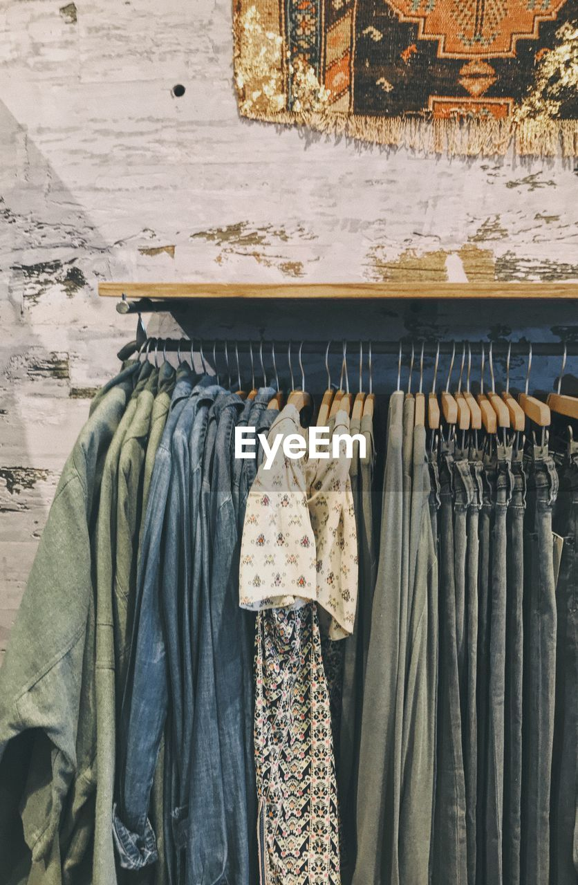 Clothes hanging for sale in store