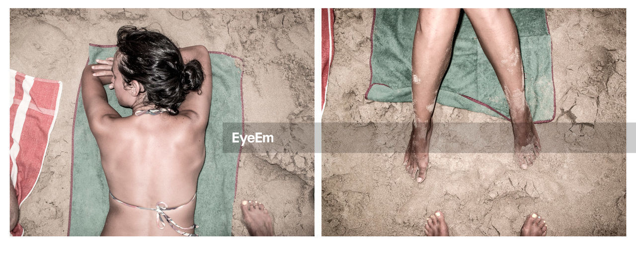 Personal perspective of person photographing woman sunbathing on beach