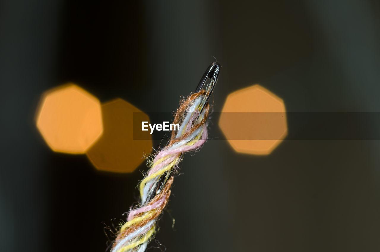 Close-up of knitting needle