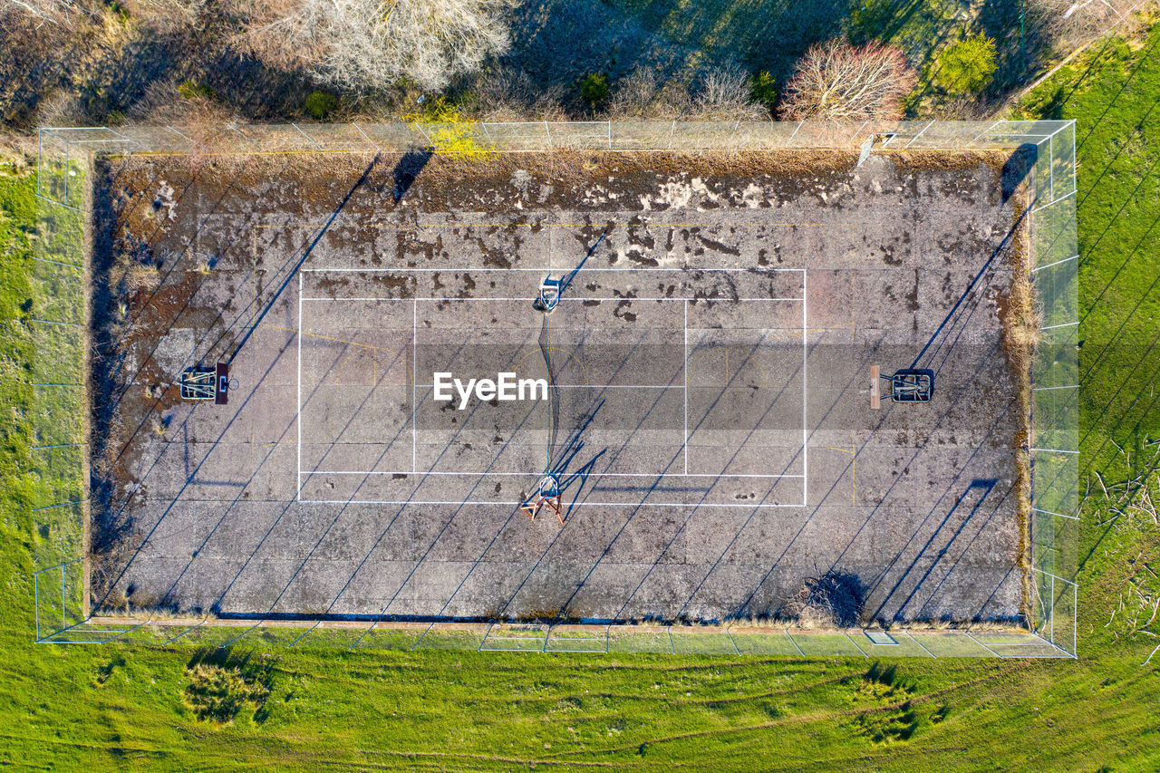 Aerial view of playing field