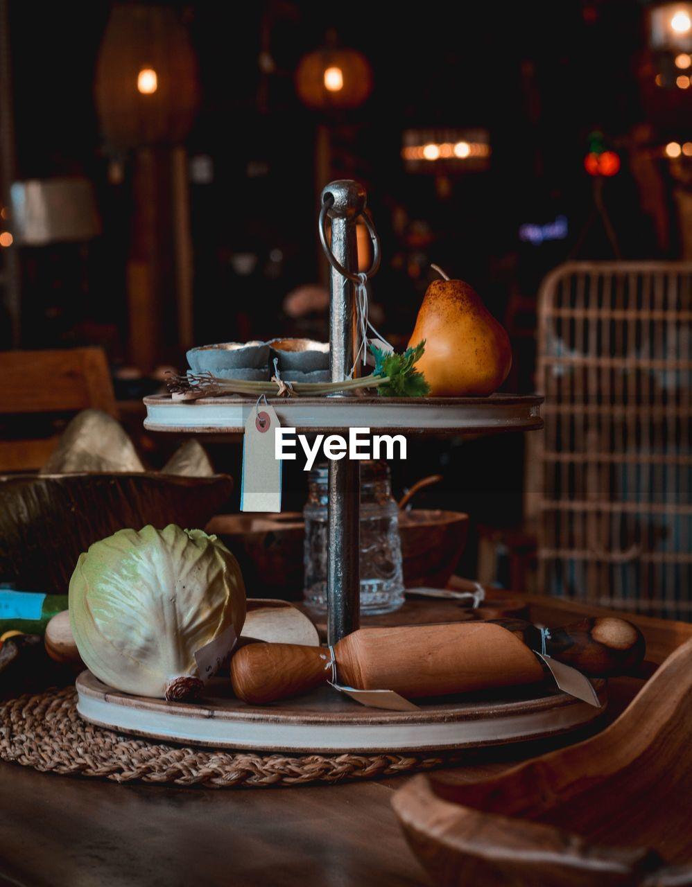 Food on rack at table