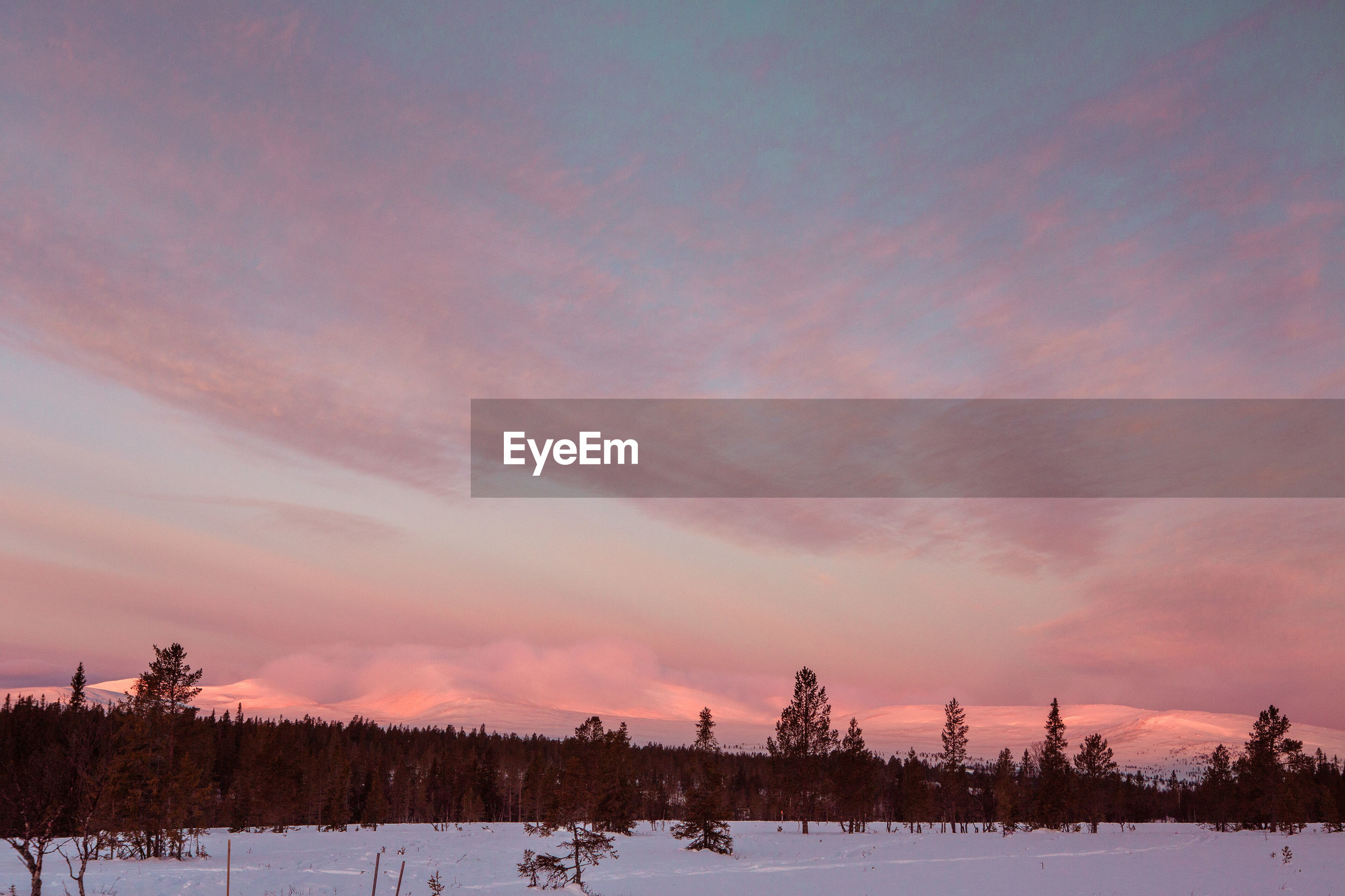 SNOW COVERED FIELD AGAINST SKY AT SUNSET