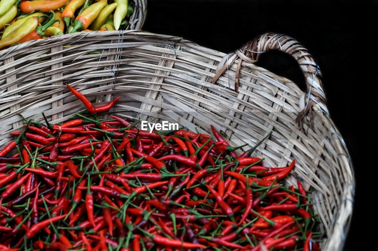 Red Chili Peppers In Basket