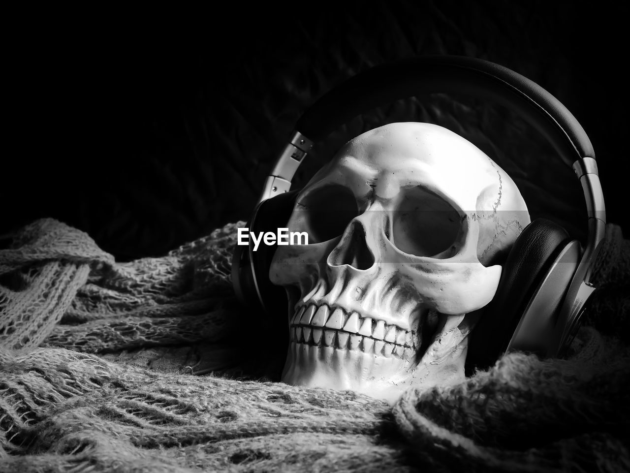 Close-Up Of Skull With Headphones On Fishing Net Against Black Background