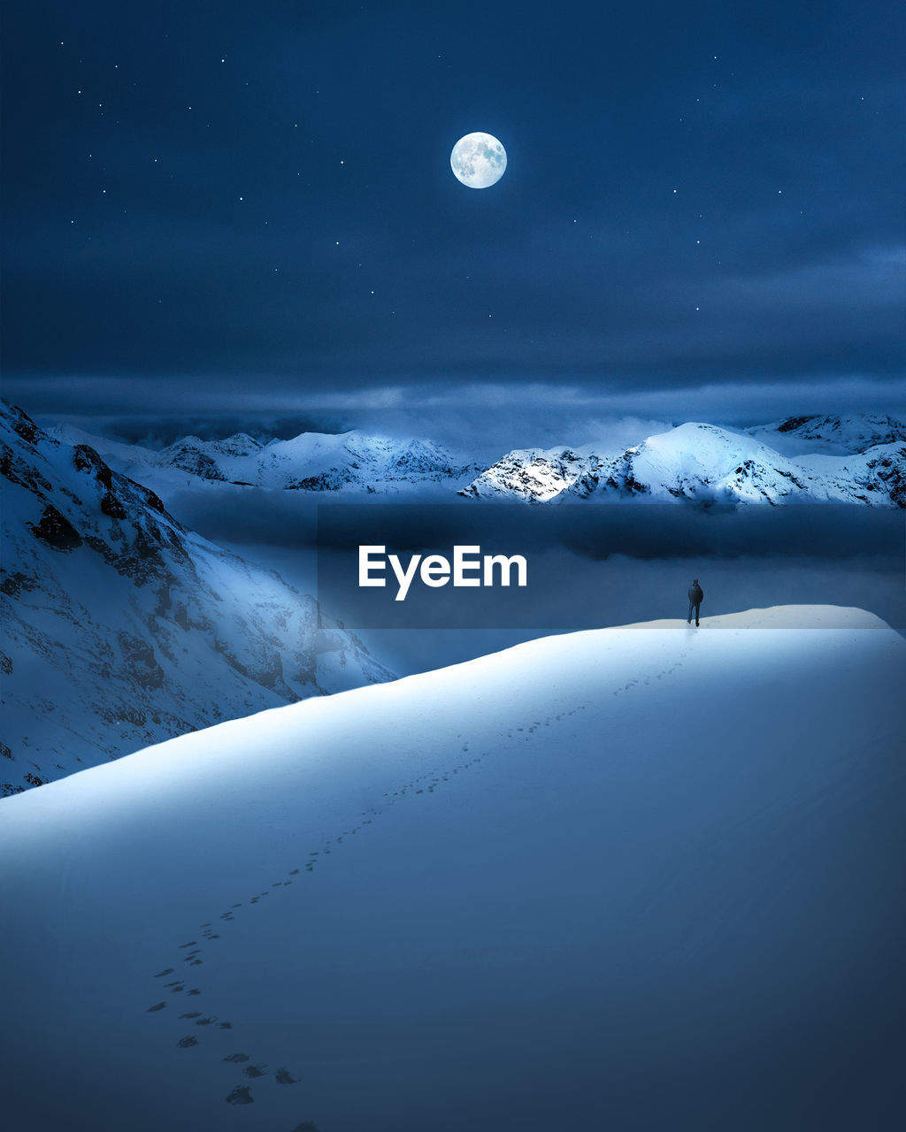 Scenic View Of Snowcapped Landscape Against Sky At Night