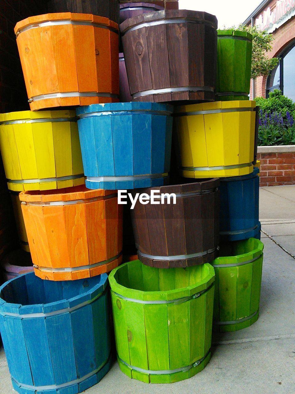 Multi colored buckets