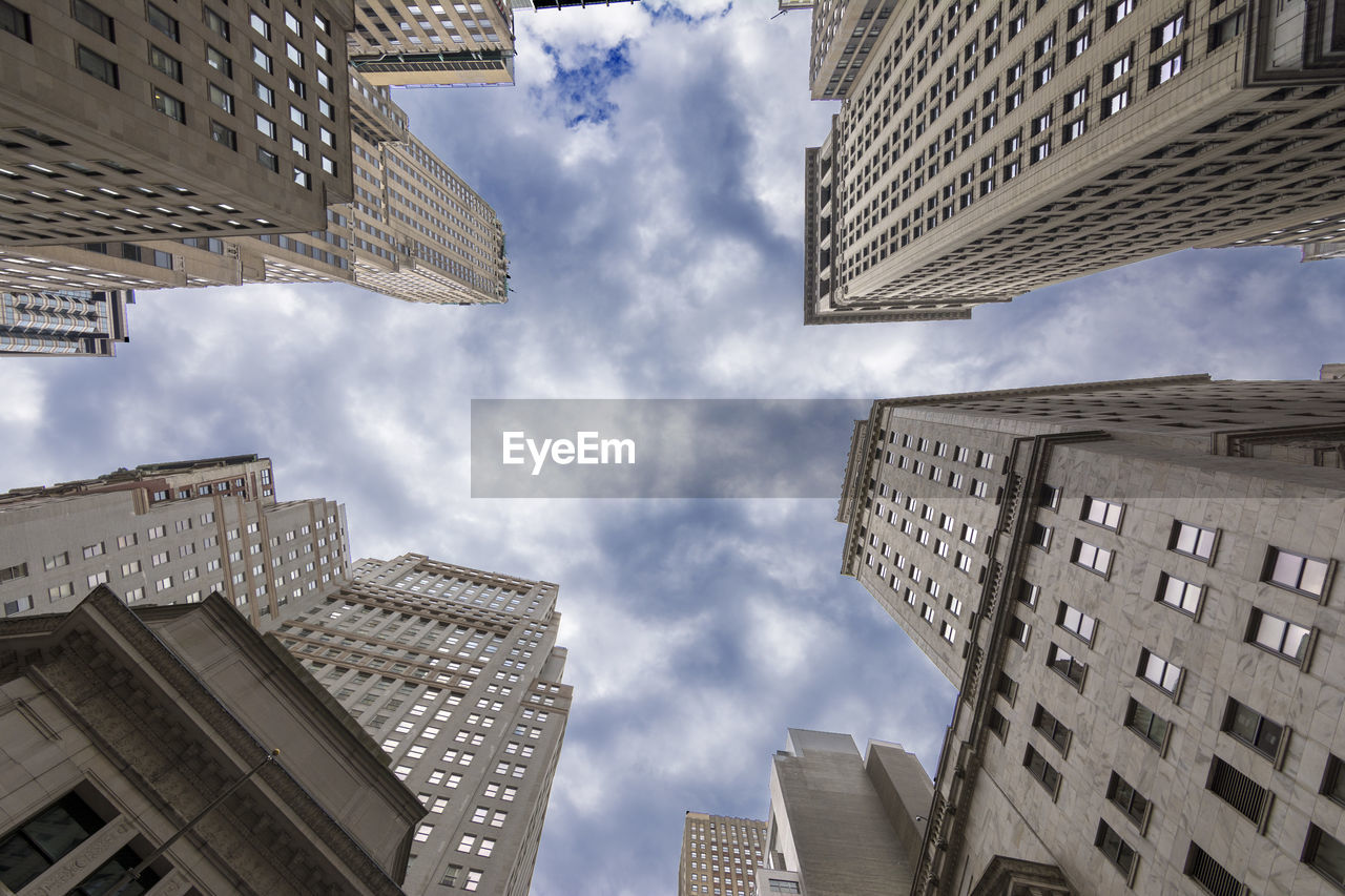 architecture, building exterior, city, modern, skyscraper, low angle view, sky, built structure, cloud - sky, outdoors, no people, day