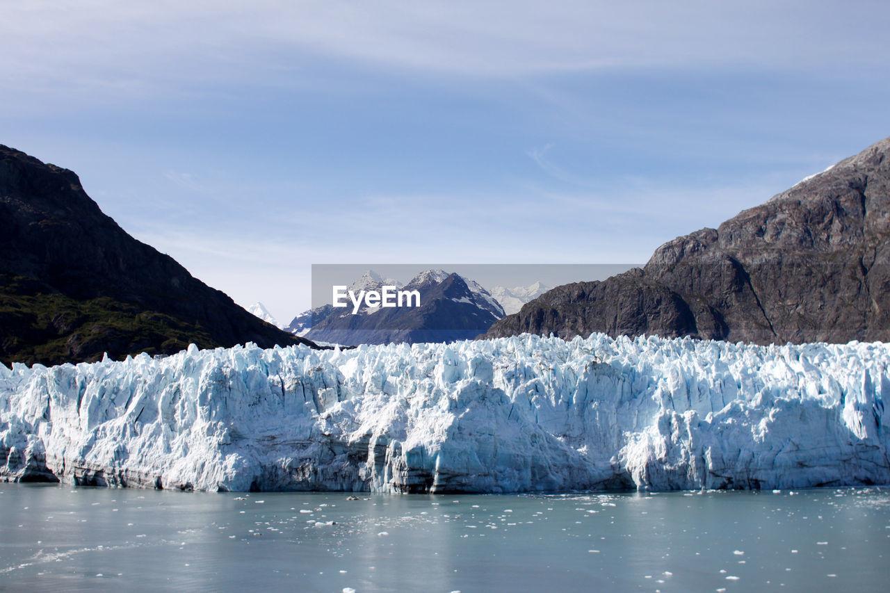 Frozen River Against Sky At Glacier Bay National Park