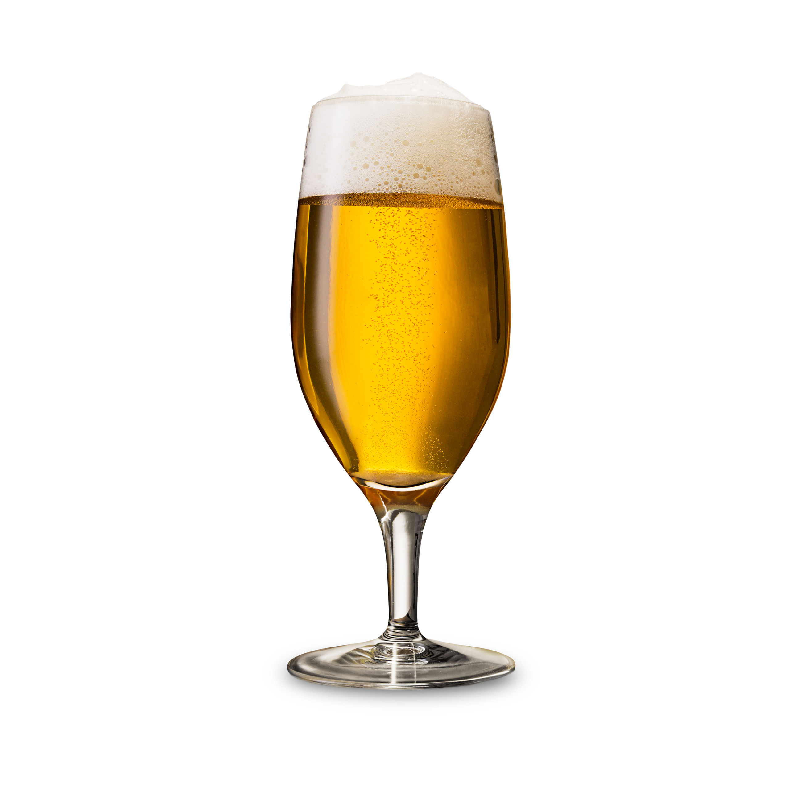 Close-up of beer in glass against white background