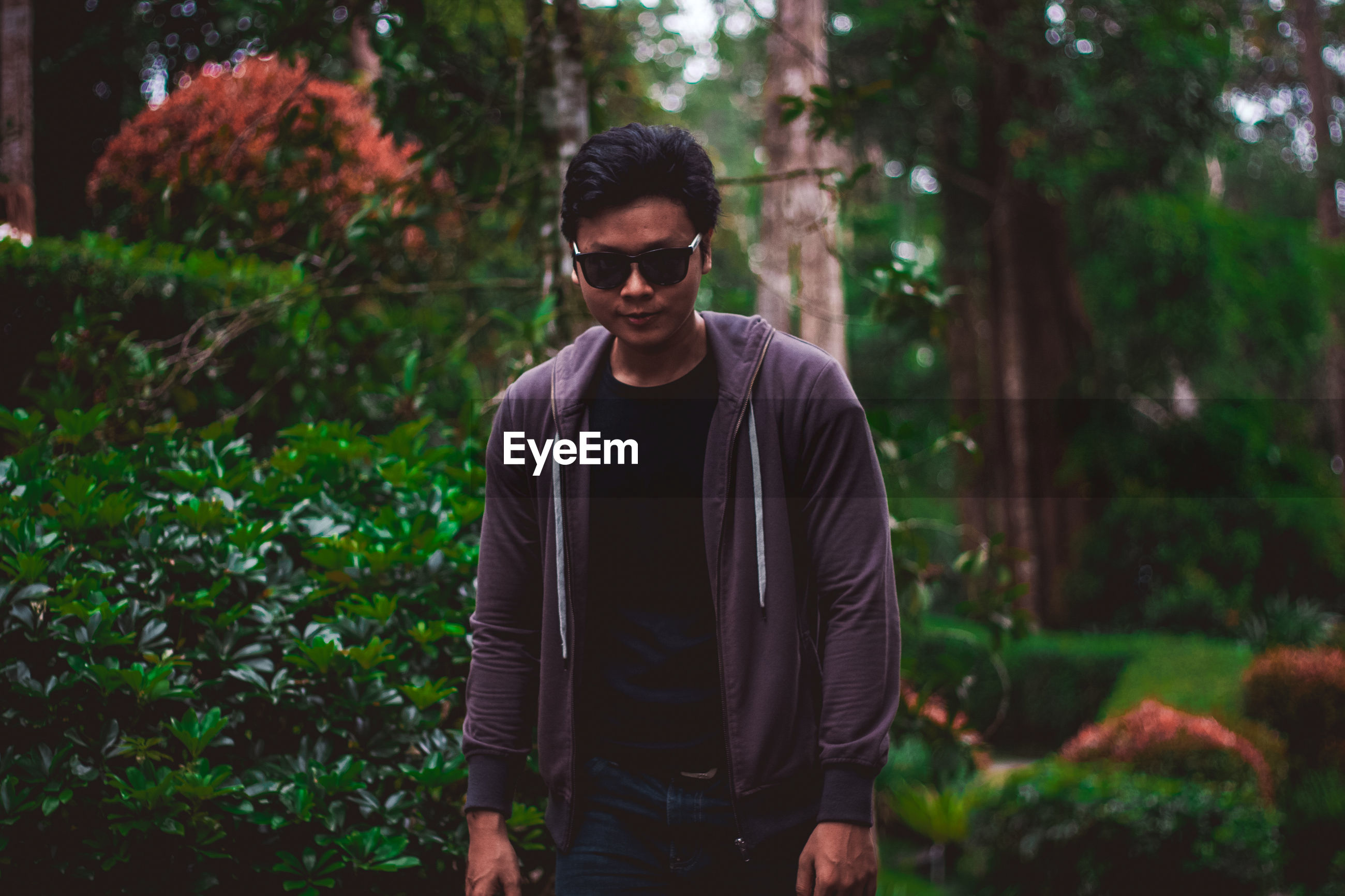 standing, casual clothing, young adult, nature, tree, front view, sunglasses, one person, one young man only, outdoors, only men, one man only, adults only, adult, people, portrait, day