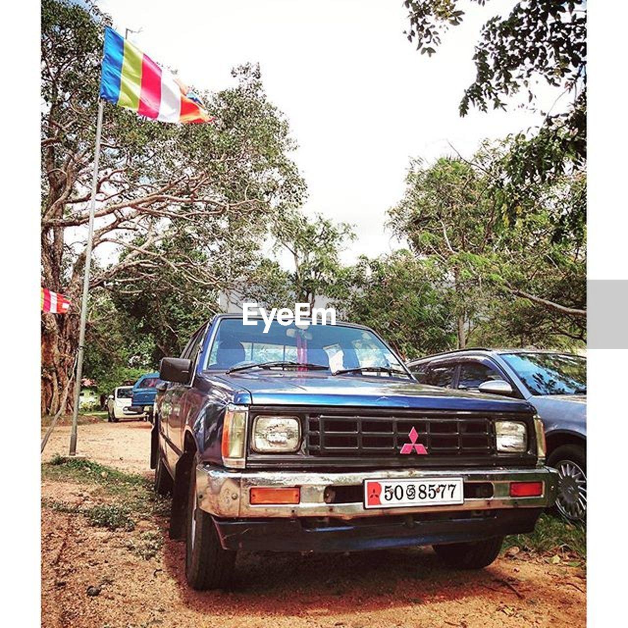 flag, car, tree, day, transportation, land vehicle, patriotism, outdoors, no people, sky