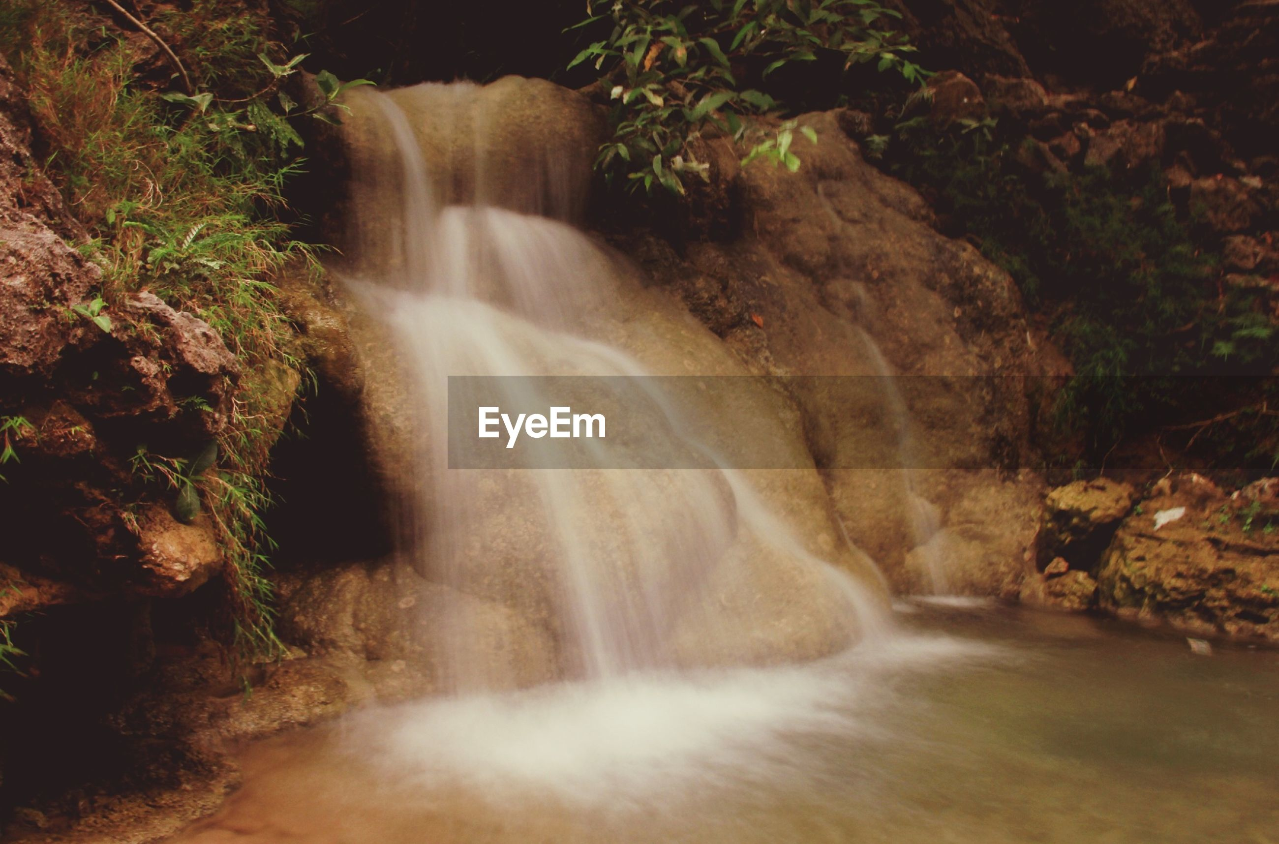 waterfall, motion, long exposure, flowing water, water, flowing, rock - object, beauty in nature, forest, nature, blurred motion, scenics, rock formation, stream, power in nature, plant, rock, splashing, outdoors, idyllic