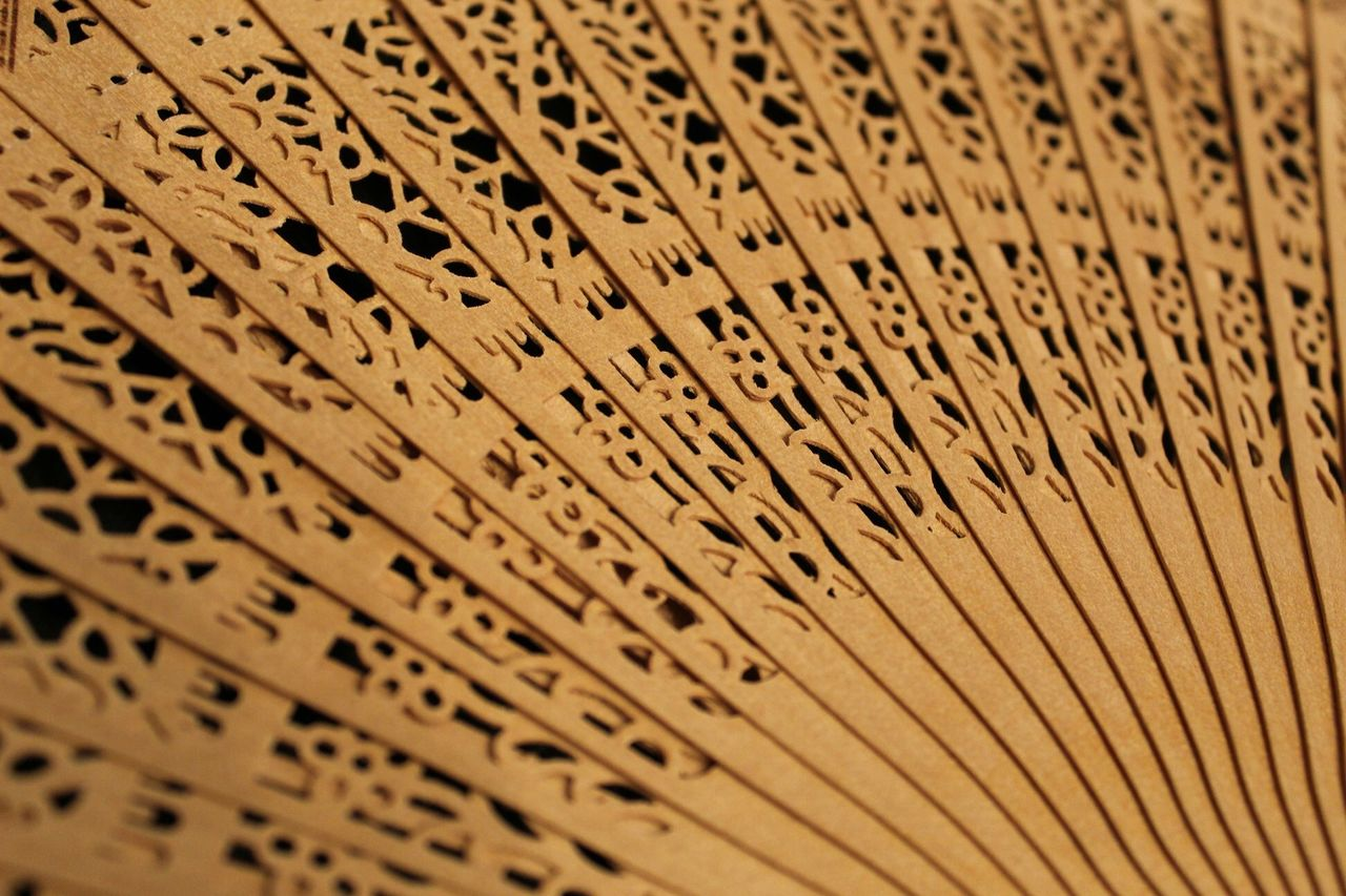 full frame, no people, pattern, backgrounds, close-up, wood - material, brown, selective focus, craft, indoors, art and craft, studio shot, bamboo - material, design, textured, abundance, creativity, wicker, in a row, foldable