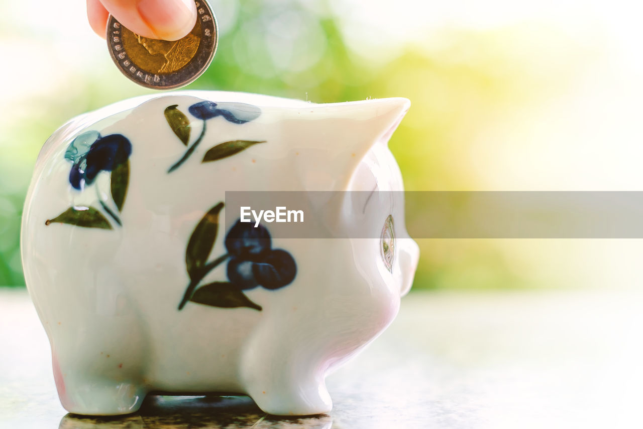 close-up, representation, focus on foreground, creativity, art and craft, still life, savings, piggy bank, human representation, table, indoors, finance, investment, day, no people, mammal, figurine, coin bank