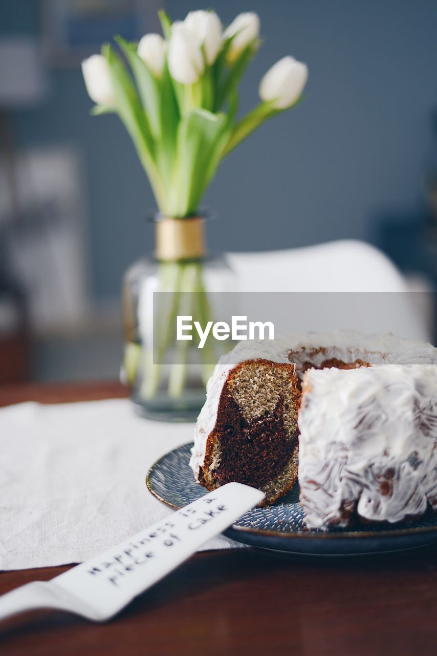 Close-Up Of Cake On Table At Home
